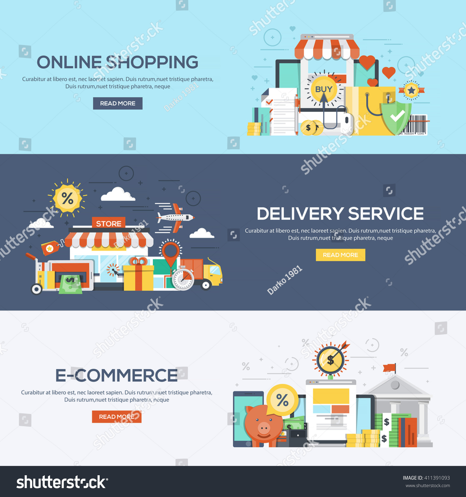 Set flat color design web banners stock vector 411391093 for Architect services online