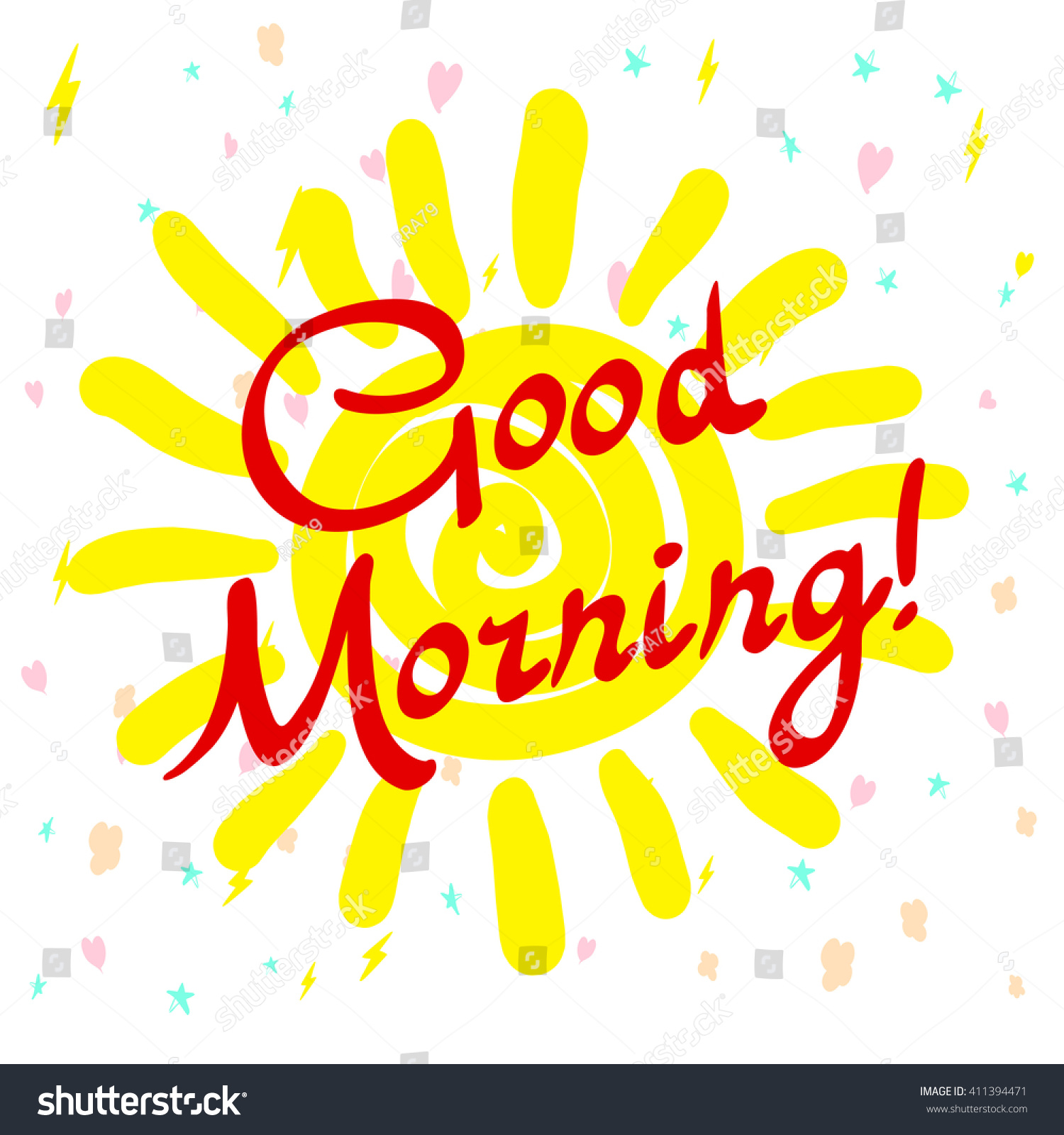 Good Morning Sunshine Letter : Good morning my sunshine handdrawn typographic stock