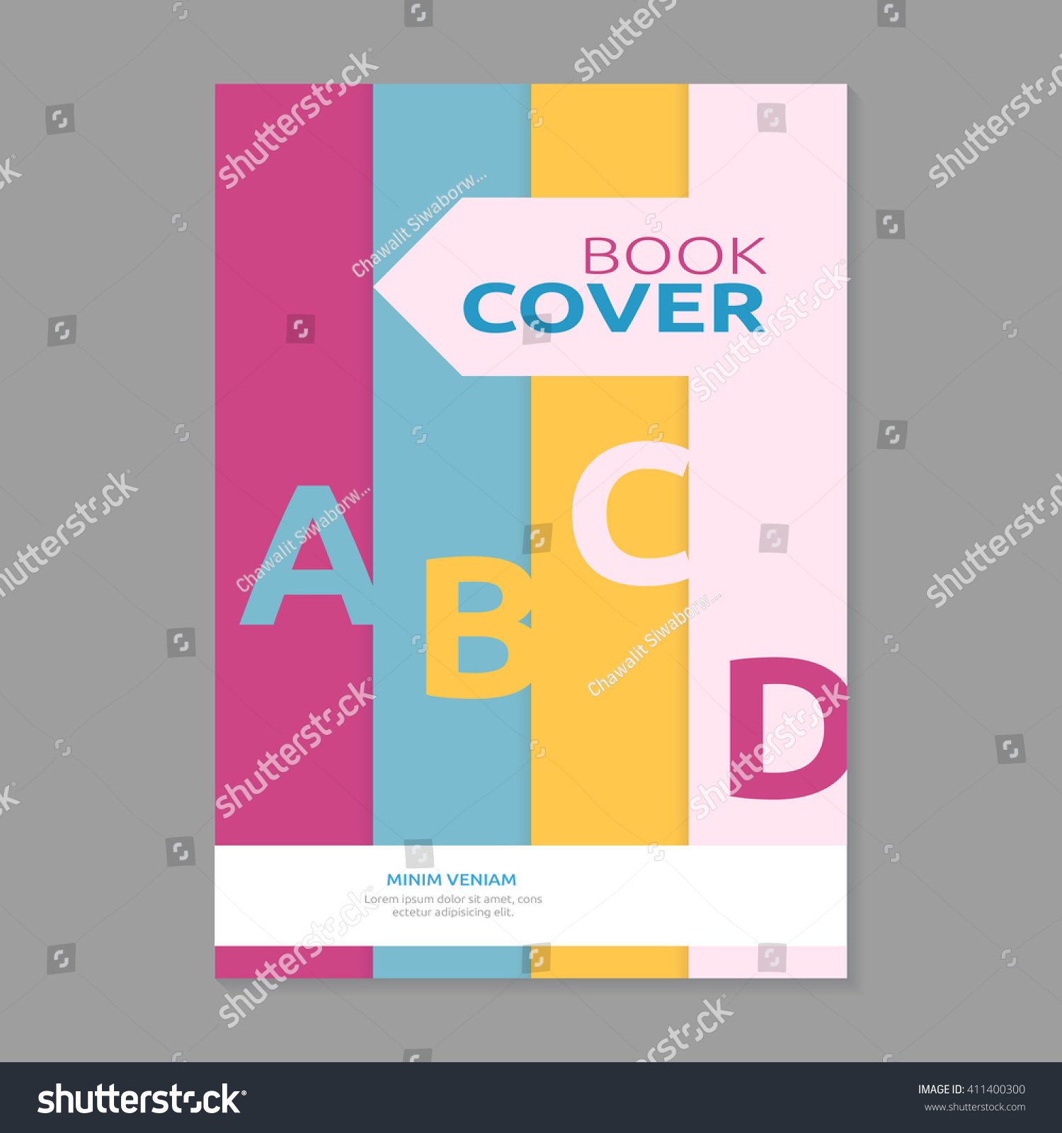 Book Cover Typography Quiz : Sweet color book cover design template stock vector