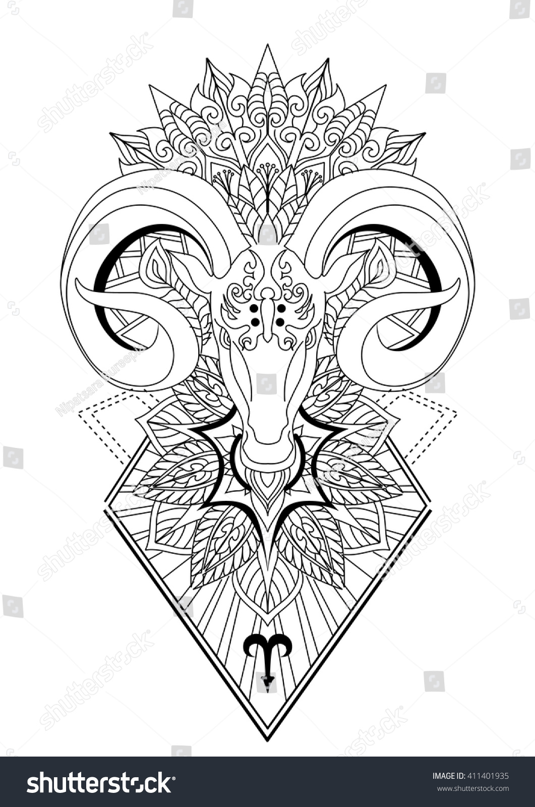 Aries Mandala Tattoo Designhorn Sheep Line Stock Vector
