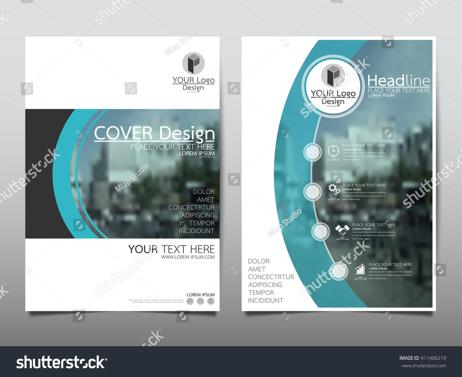 technology brochure template - blue curve technology annual report brochure stock vector