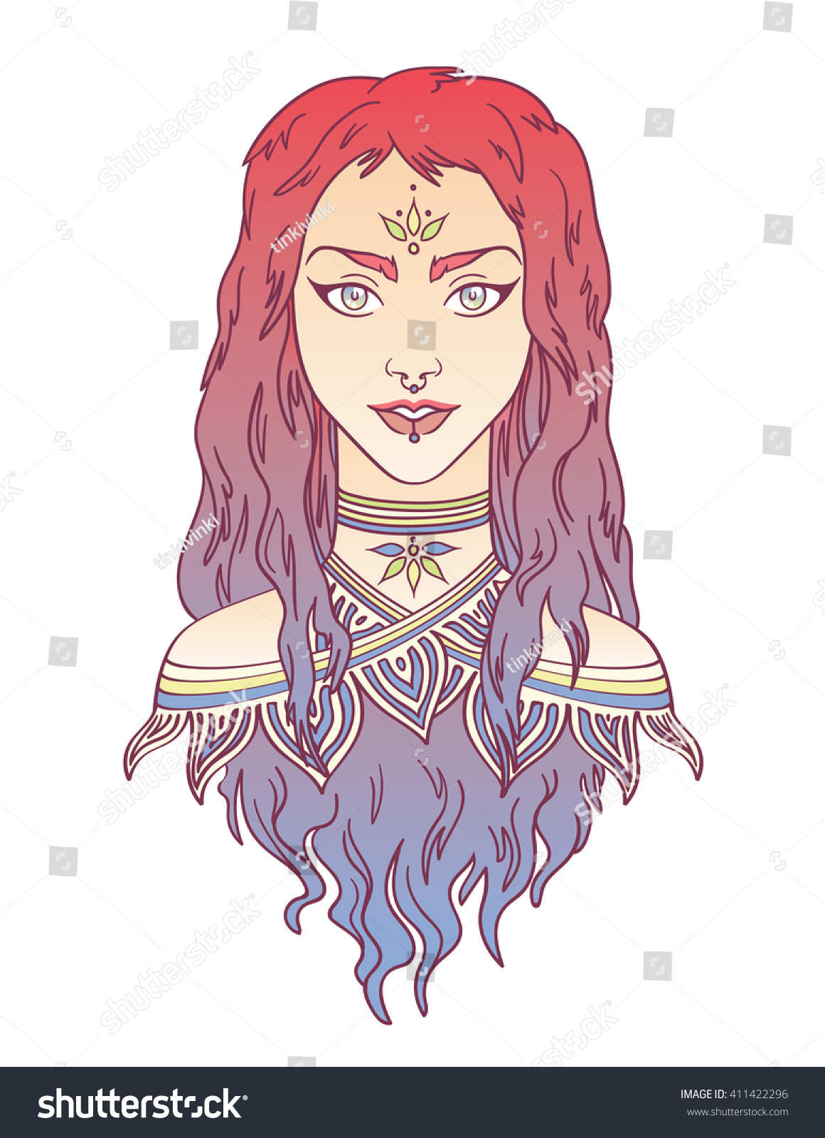 Beauty Stylish Beautiful Girl With Curly Gradient Hair Tribal Colorful Portrait In