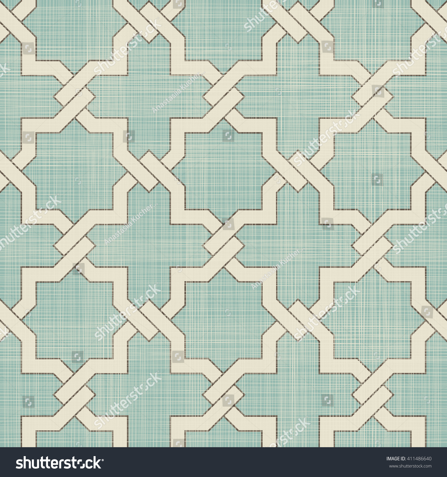 Seamless Moroccan Pattern Turquoise Beige On Stock Vector