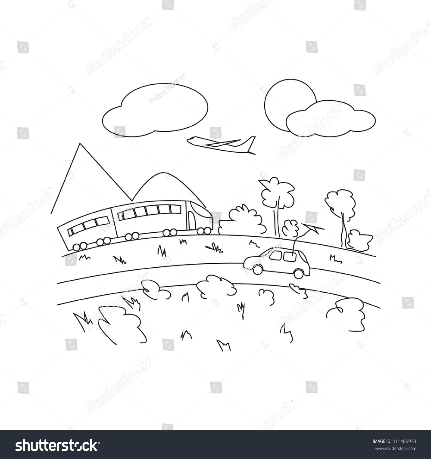 Plane Car Train Journey Childrens Coloring Stock Vector Royalty