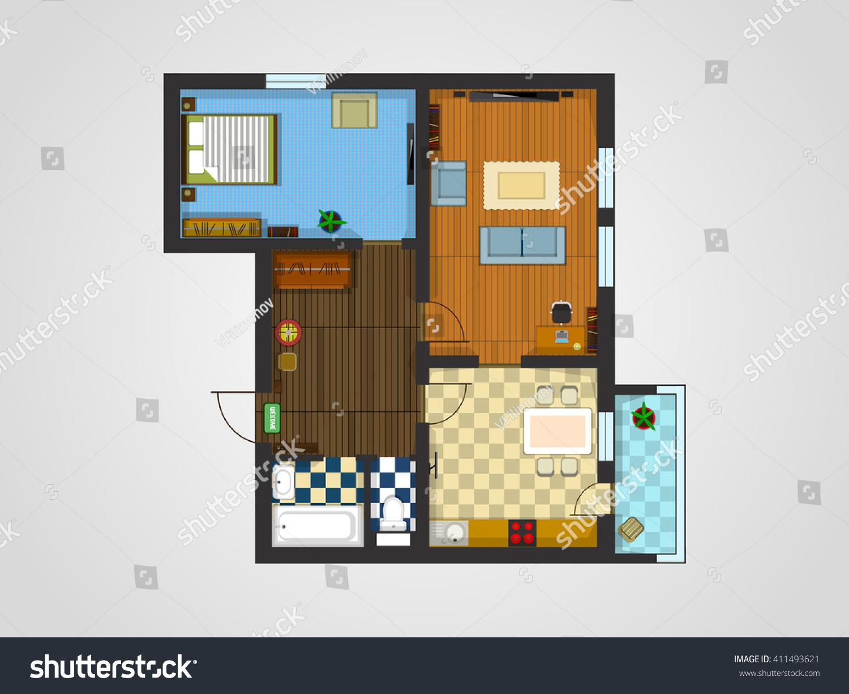 Layout Apartment Furniture Accommodation Kitchen Living