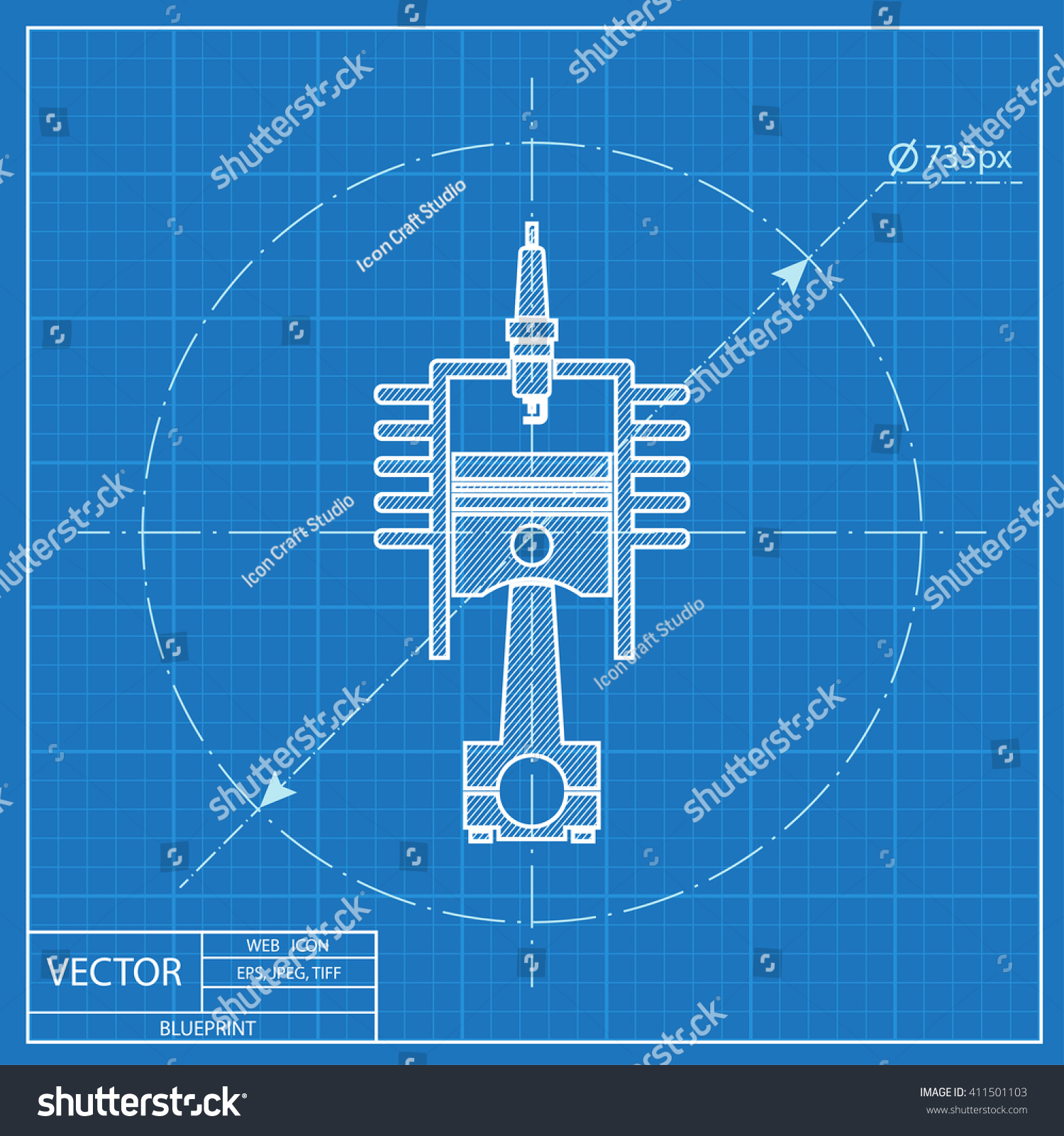 blueprint icon of engine piston and cylinder