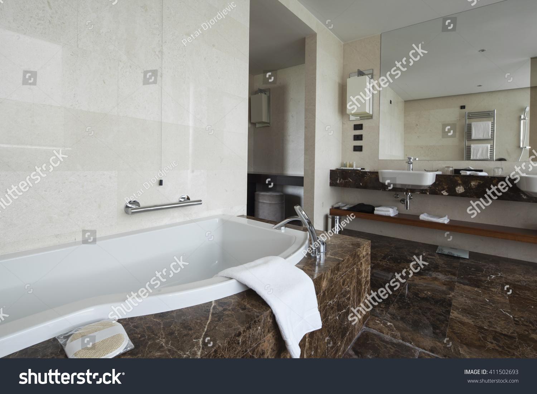 Modern Bathroom Interior Double Sink Large Stock Photo (Edit Now ...