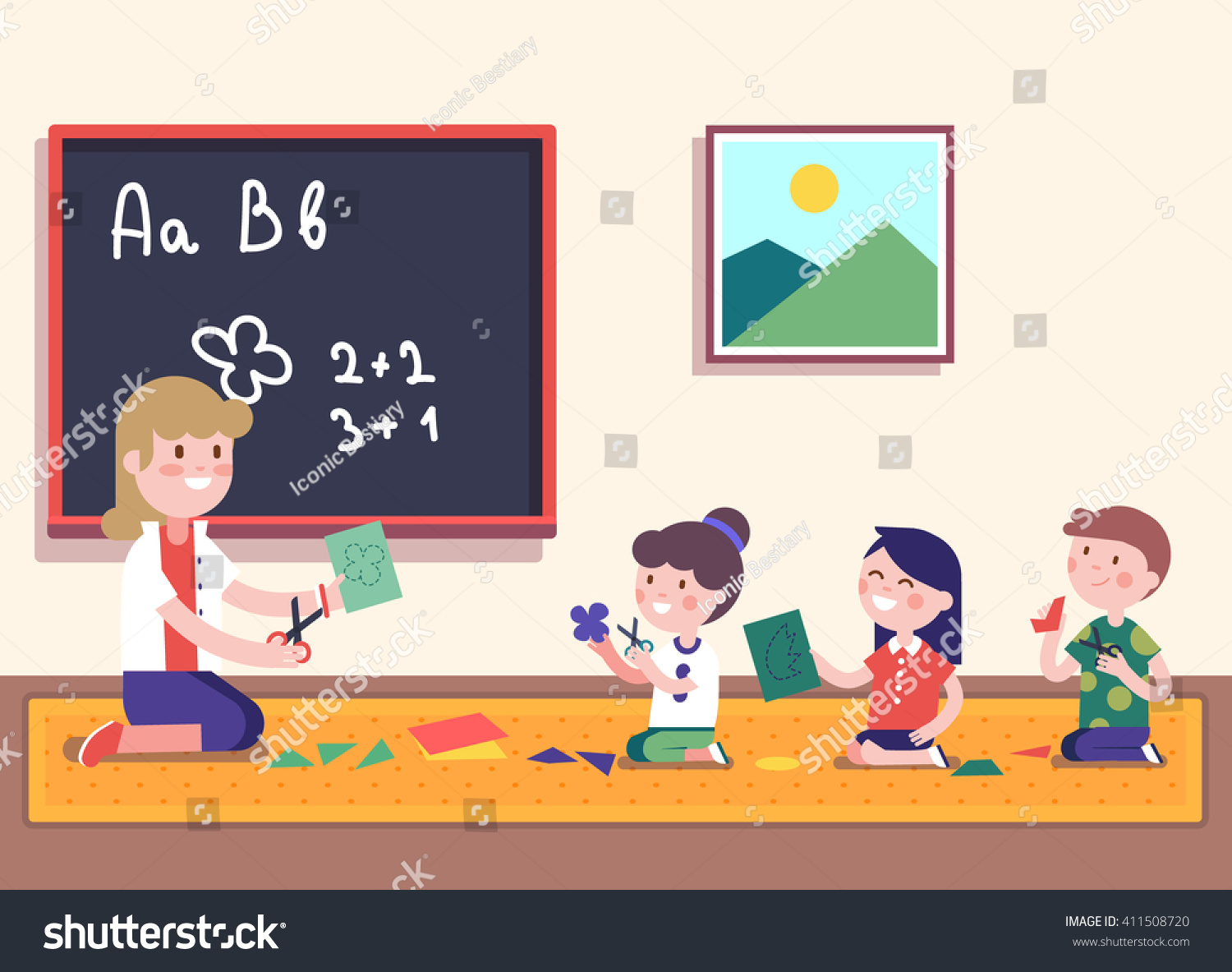 Schulklasse im unterricht clipart  Kindergarten Teacher Teaching Math Her Small Stock-vektorgrafik ...