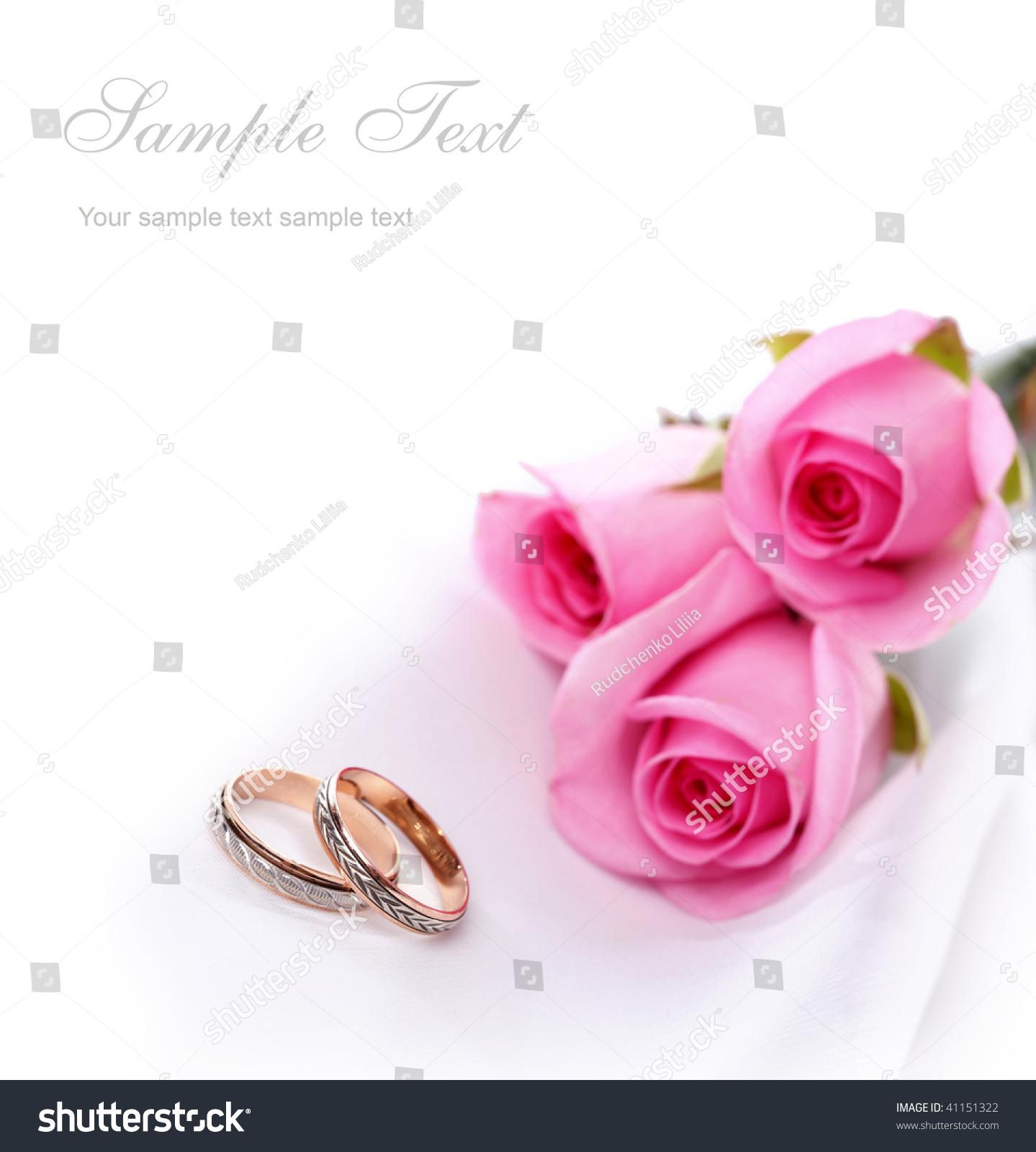 Wedding Rings Pink Roses Stock Photo (Royalty Free) 41151322 ...