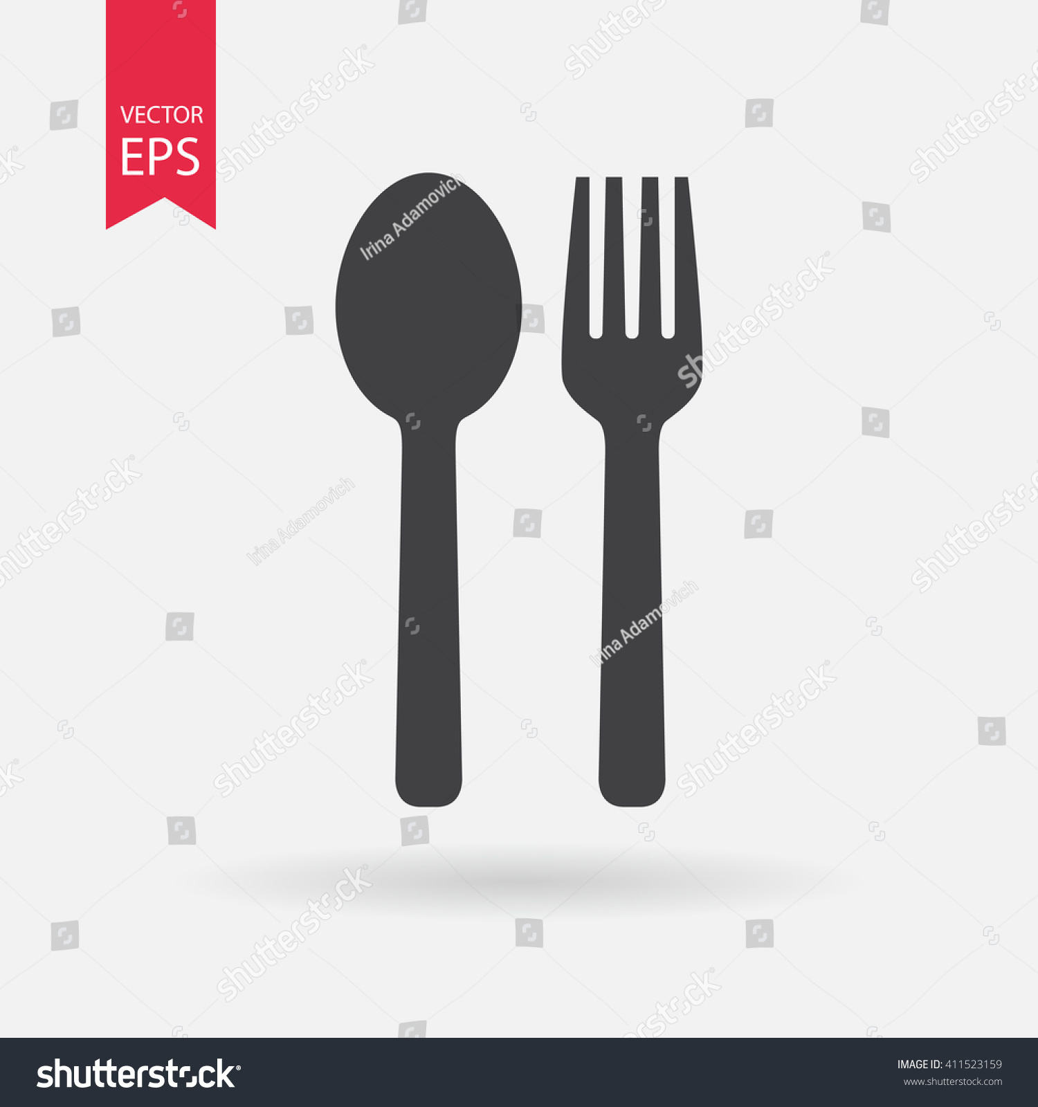 Spoon Fork Icon Vector Food Dining Stock Vector 411523159 ...