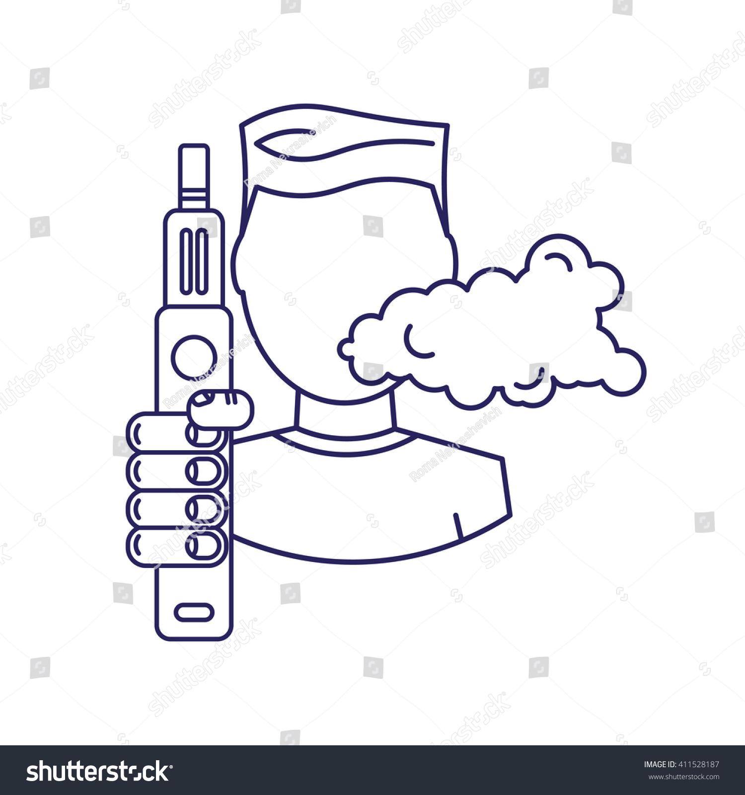 Vector Illustration Man Steam Generator Hand Stock Vector