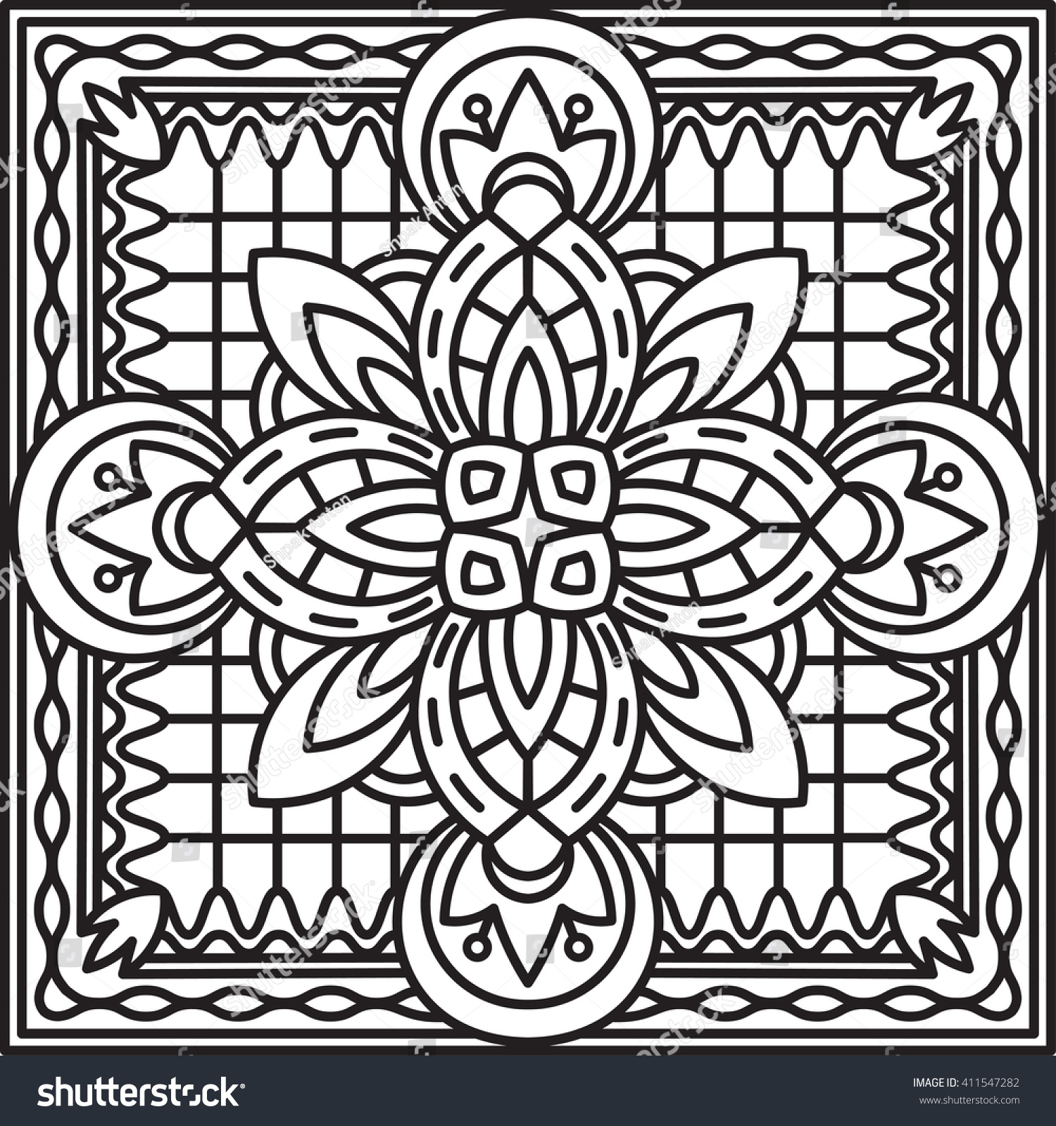 Transom Windows A Useful Design Element: Abstract Vector Black Square Lace Design Stock Vector