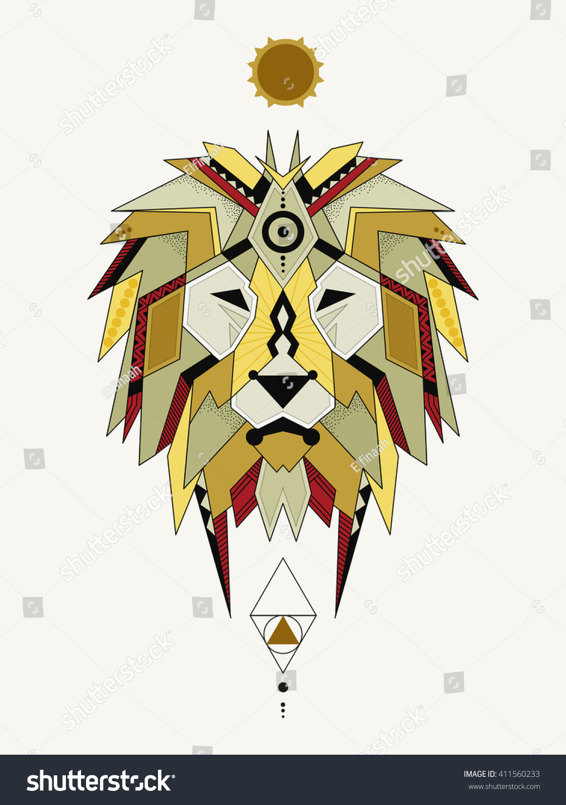 Illustration geometric lion lion considered by stock vector illustration of geometric lion lion is considered by many cultures to be a solar animal biocorpaavc