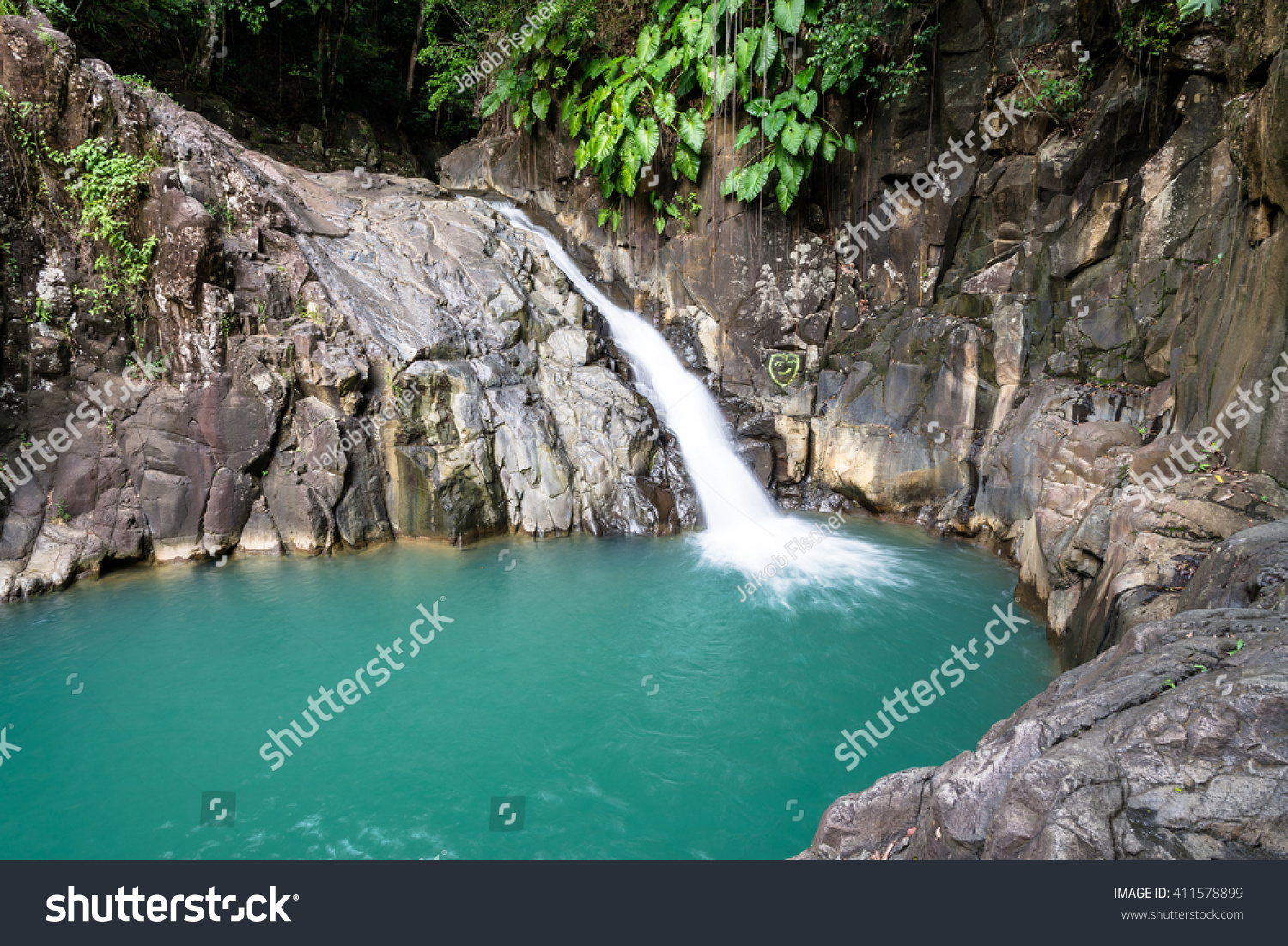 turquoise pool waterfall saut dacomat guadeloupe stock photo 411578899 shutterstock. Black Bedroom Furniture Sets. Home Design Ideas
