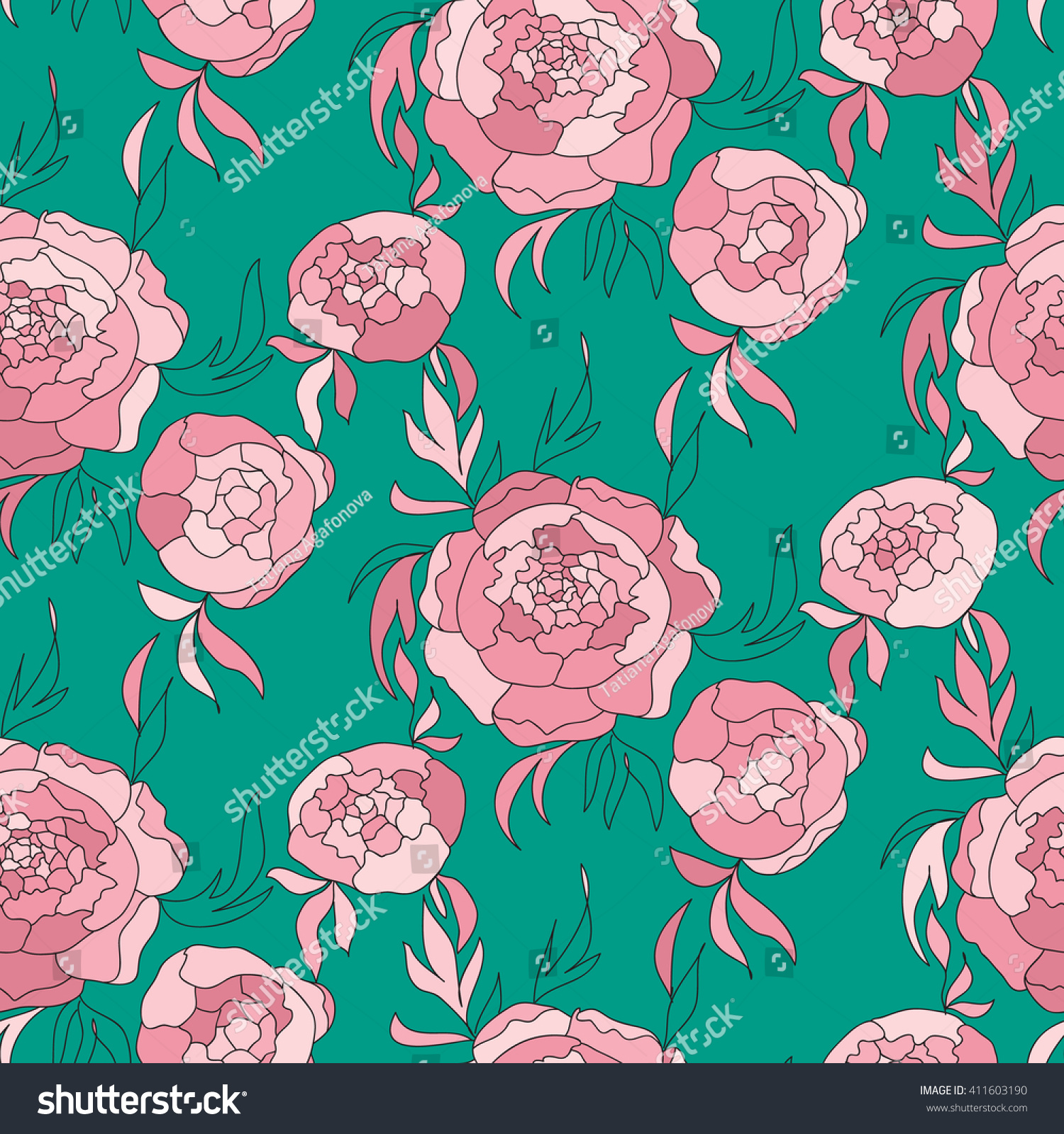 Green Flower Line Drawing : Vector seamless pattern peony flowers shades stock
