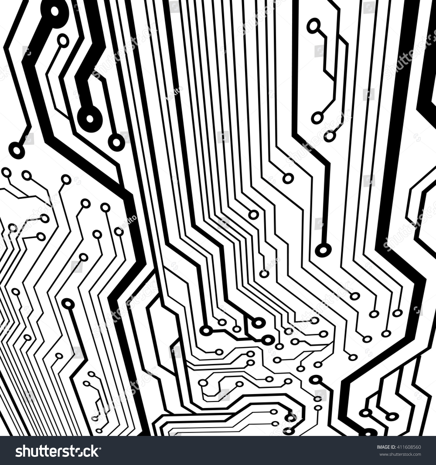 Abstract Simple Circuit Board Perspective View Stock Vector Royalty In Eps10 Curves