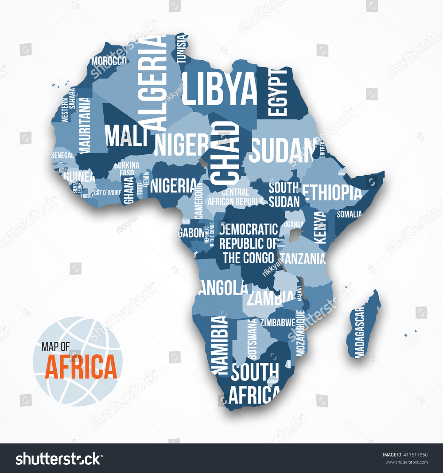 Vector Detailed Map Africa Borders Country Stock Vector 411617860