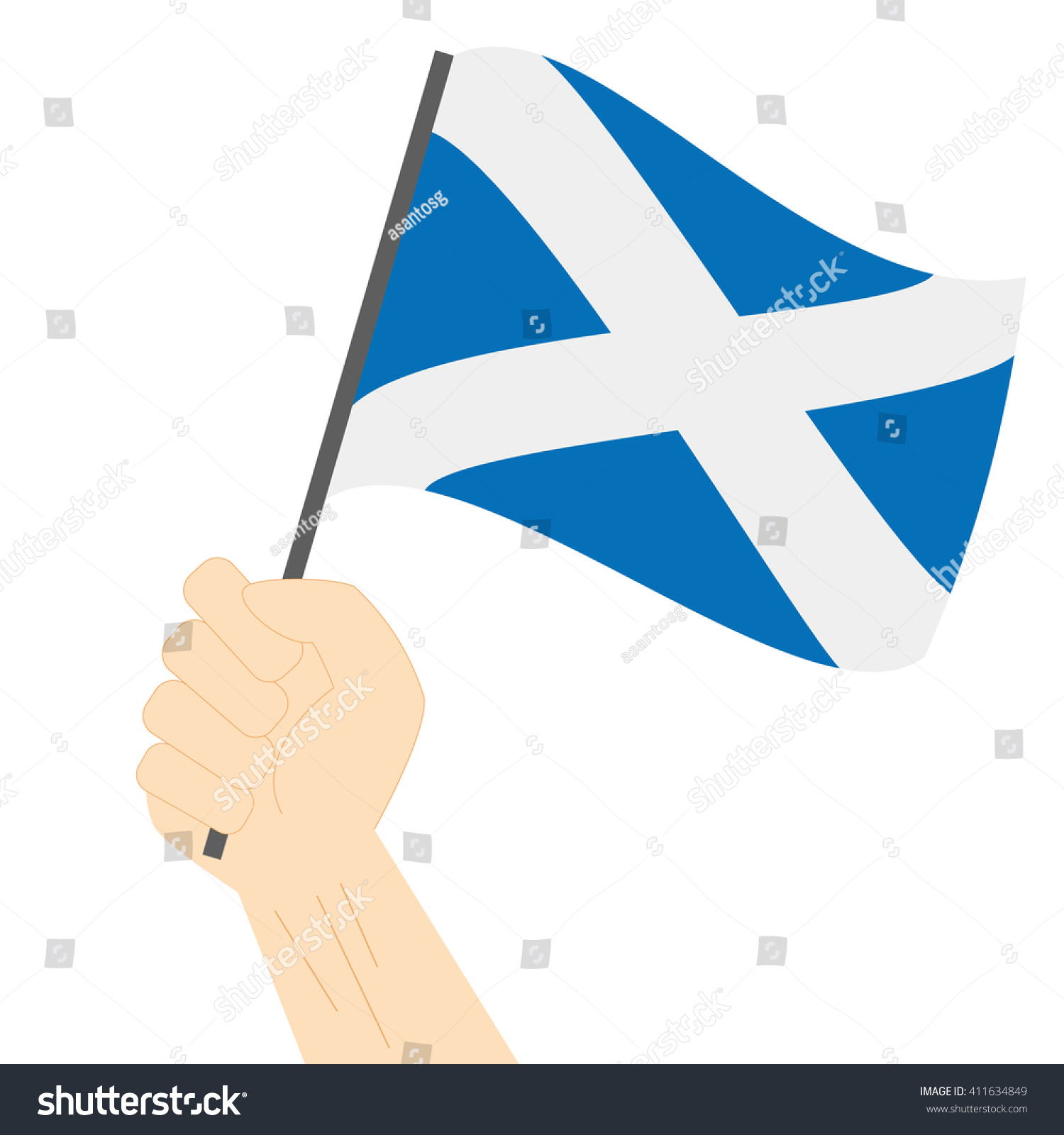 hand holding raising national flag scotland stock vector 411634849