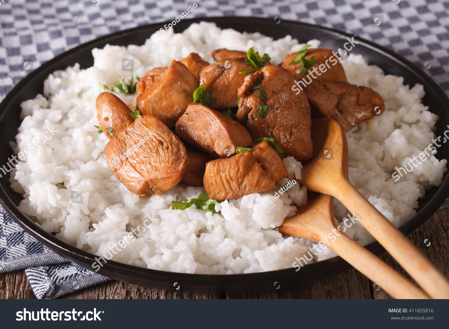 Philippine cuisine adobo rice closeup on stock photo for Adobo filipino cuisine