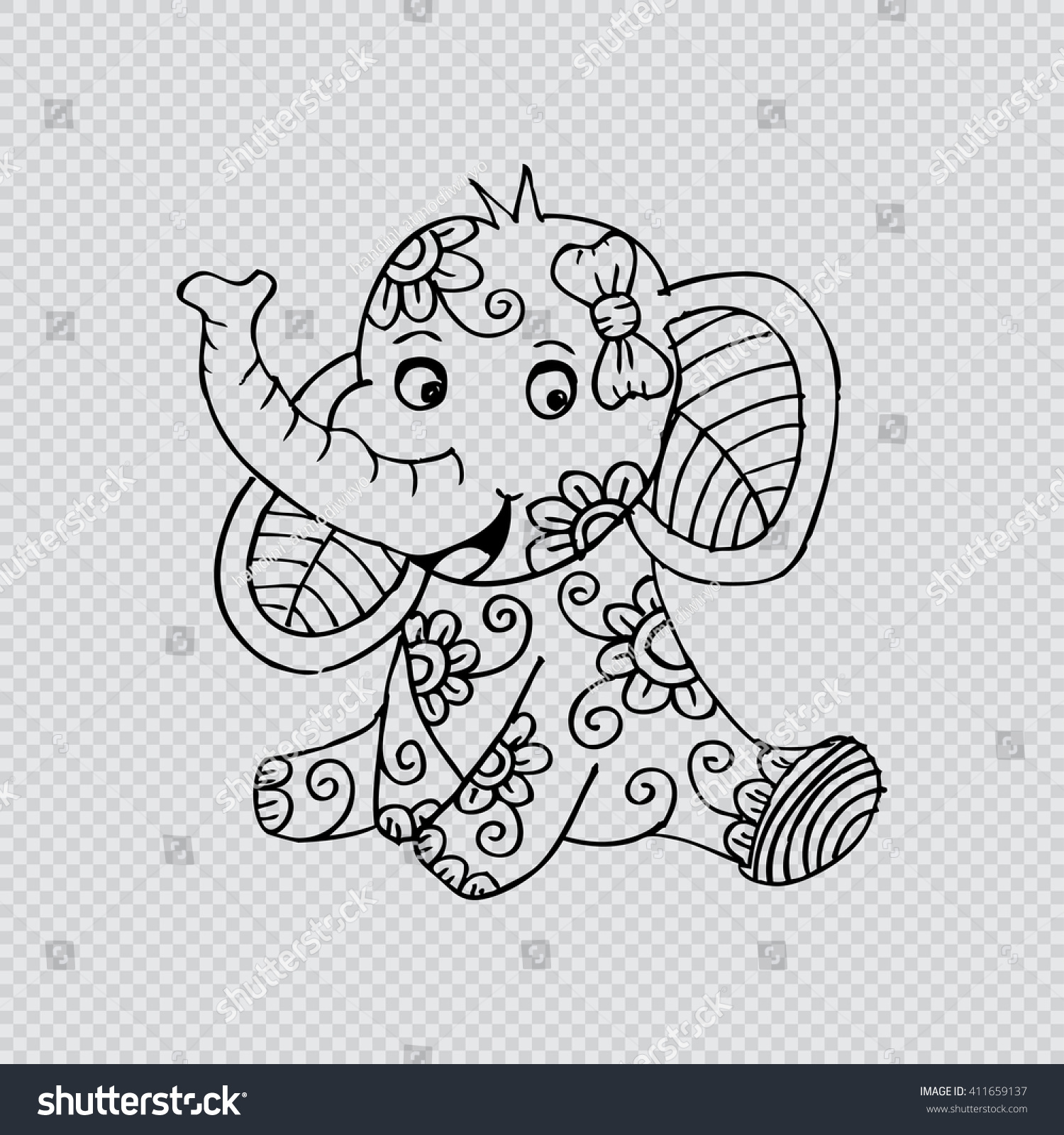 Baby Elephant Doodle Style Stock Vector (Royalty Free) 411659137 ...