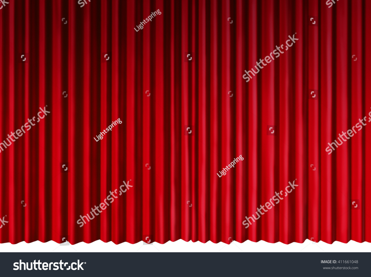 curtains object as red velvet drapes theatrical stage isolated on a white background as