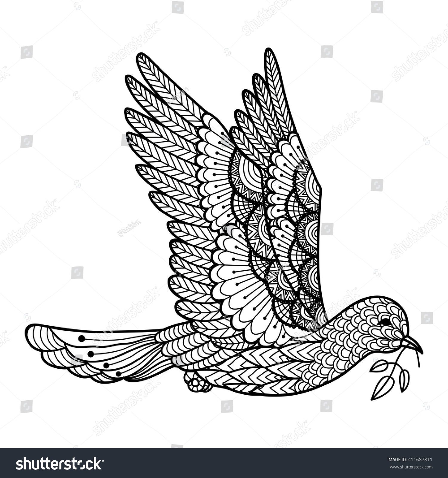 Line Art Leaf : Dove carrying leaves line art design stock vector