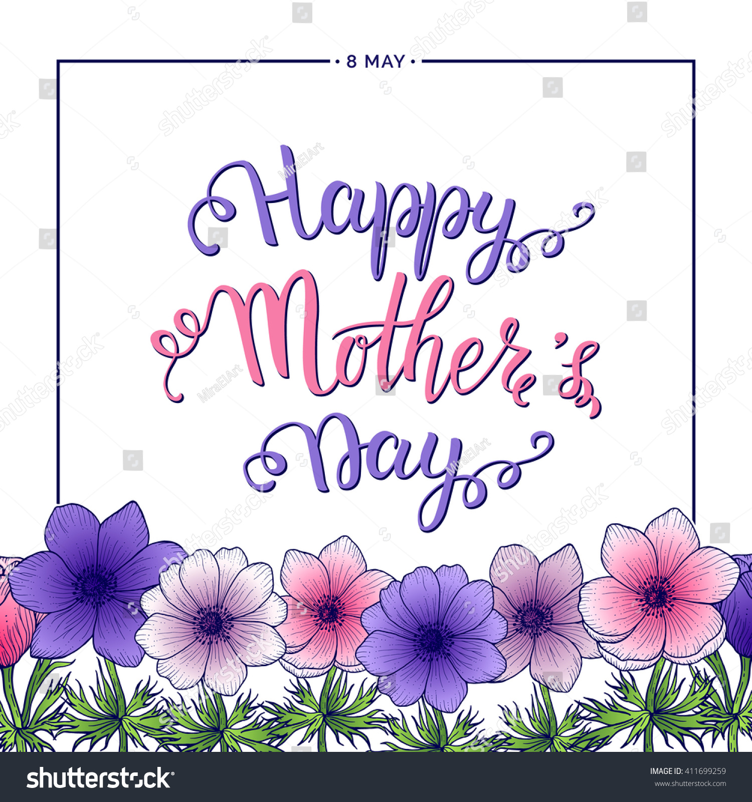 Happy Mothers Day Lettering Floral Frame Stock Vector 411699259 ...