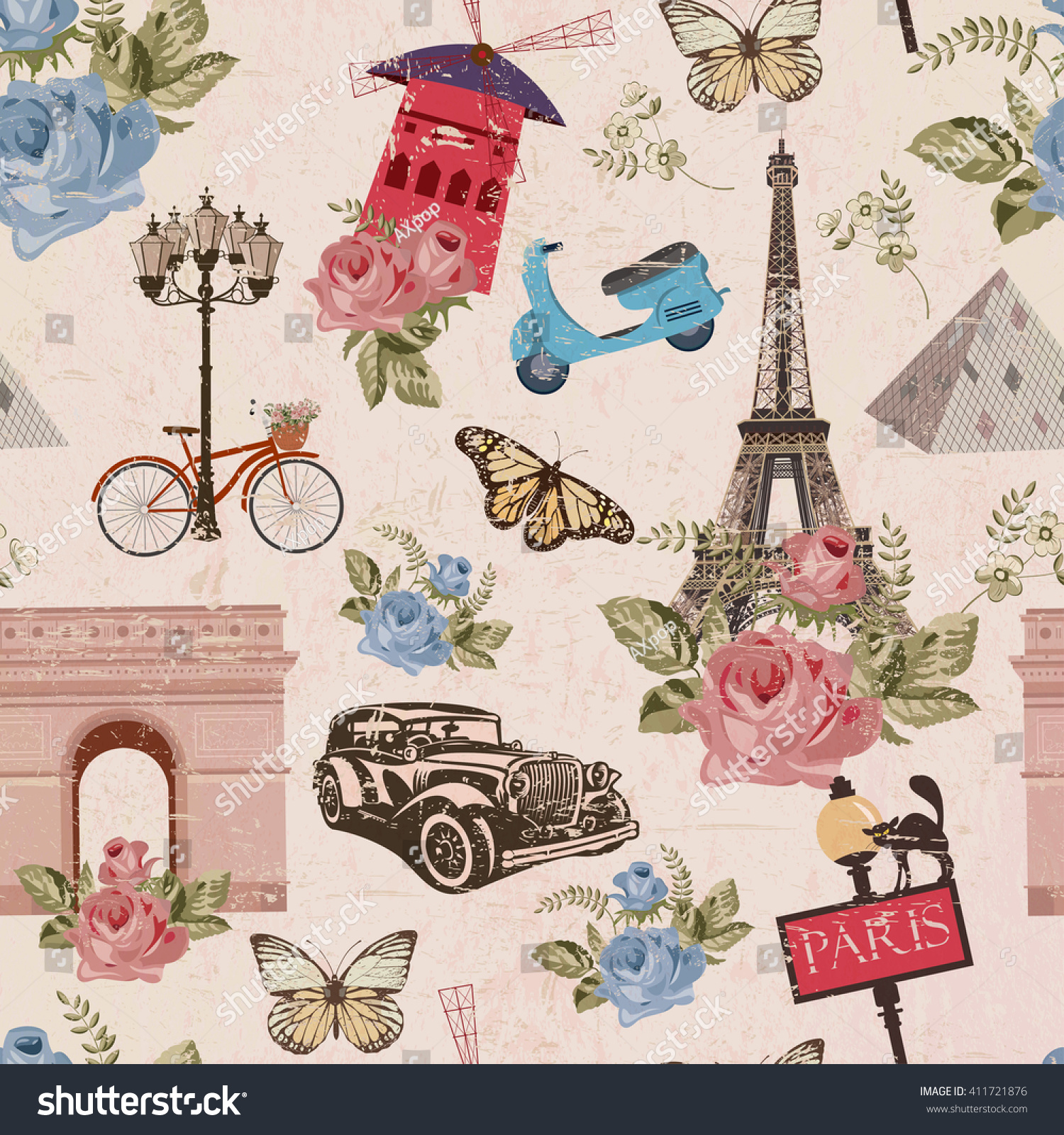Seamless Paris Travel Wallpaper Vintage Background Stock Vector HD