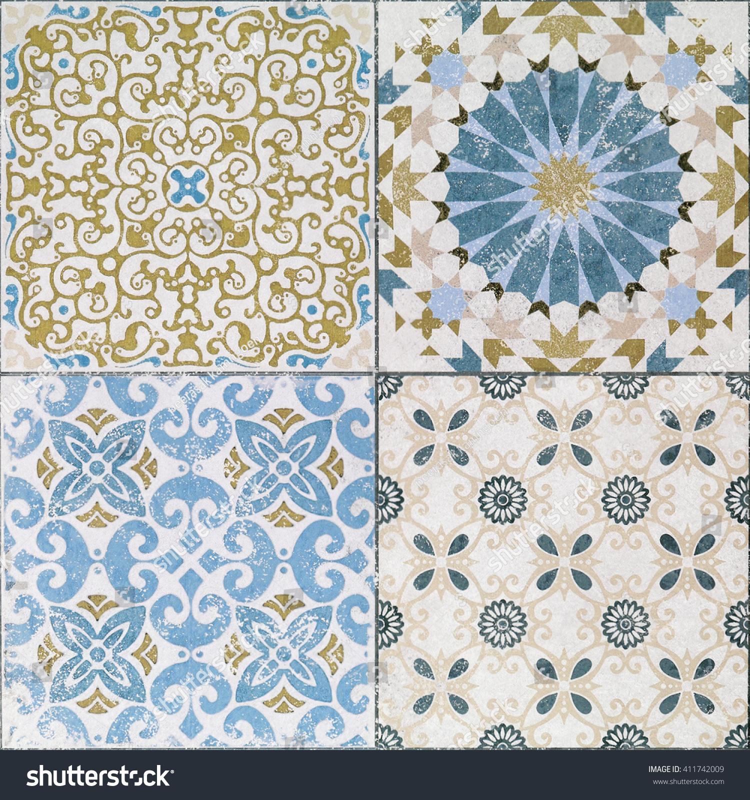 Beautiful old ceramic tiles patterns in the park public.   EZ Canvas