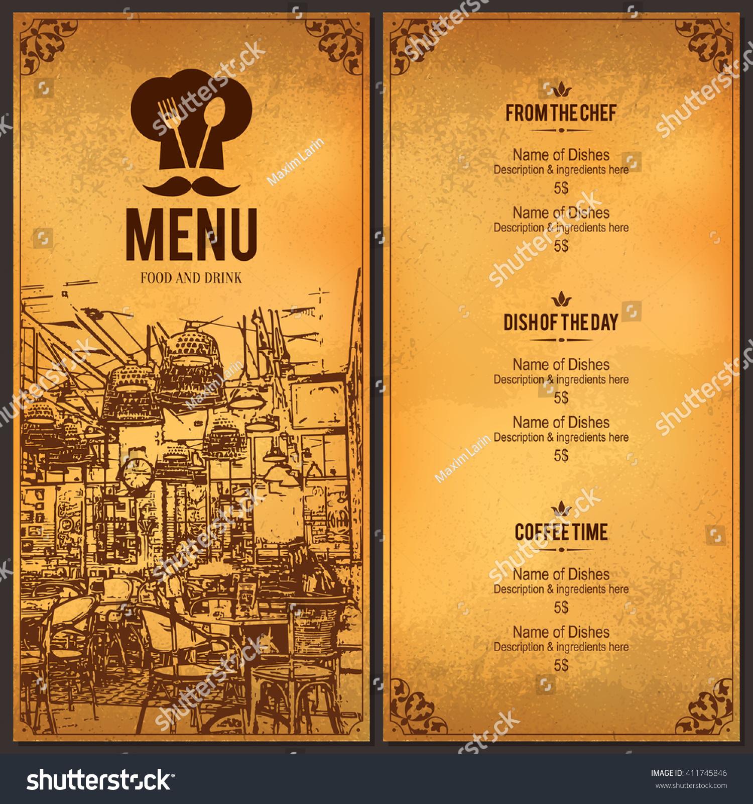 Restaurant Menu Design Vector Menu Brochure Stock Vector ...