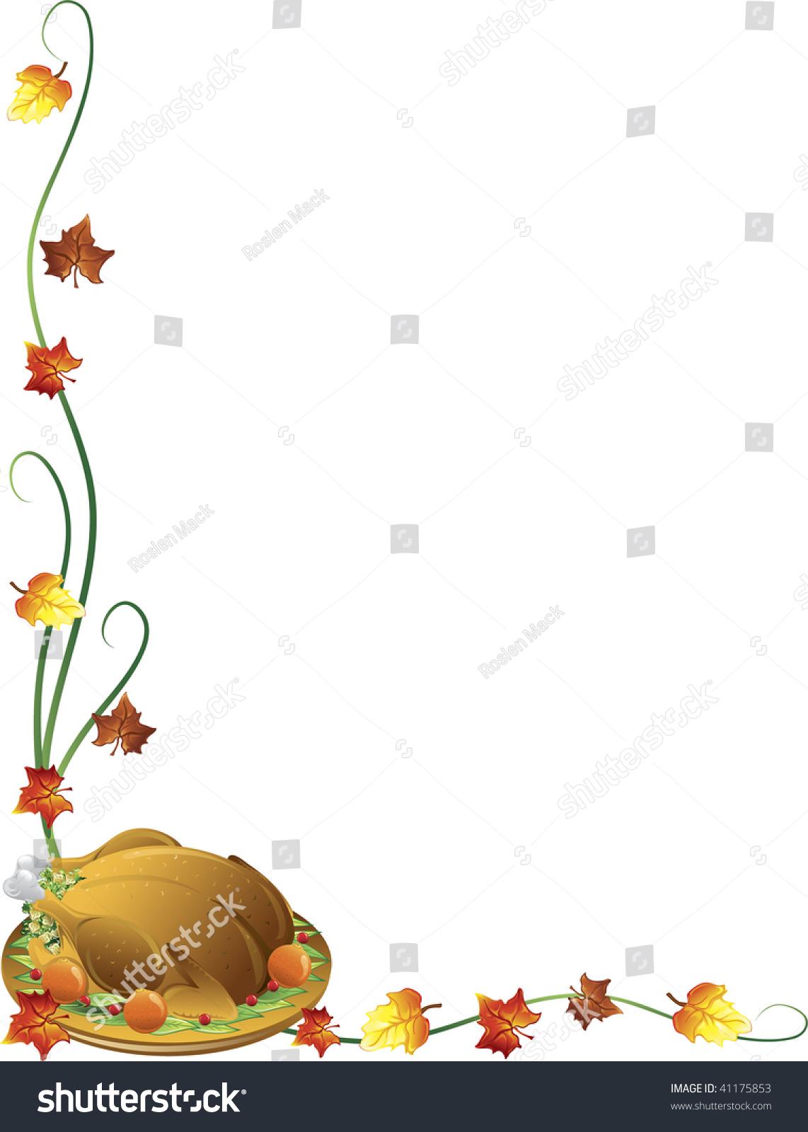 thanksgiving border turkey fall leaves stock vector Fall Clip Art pumpkin vine clip art black and white