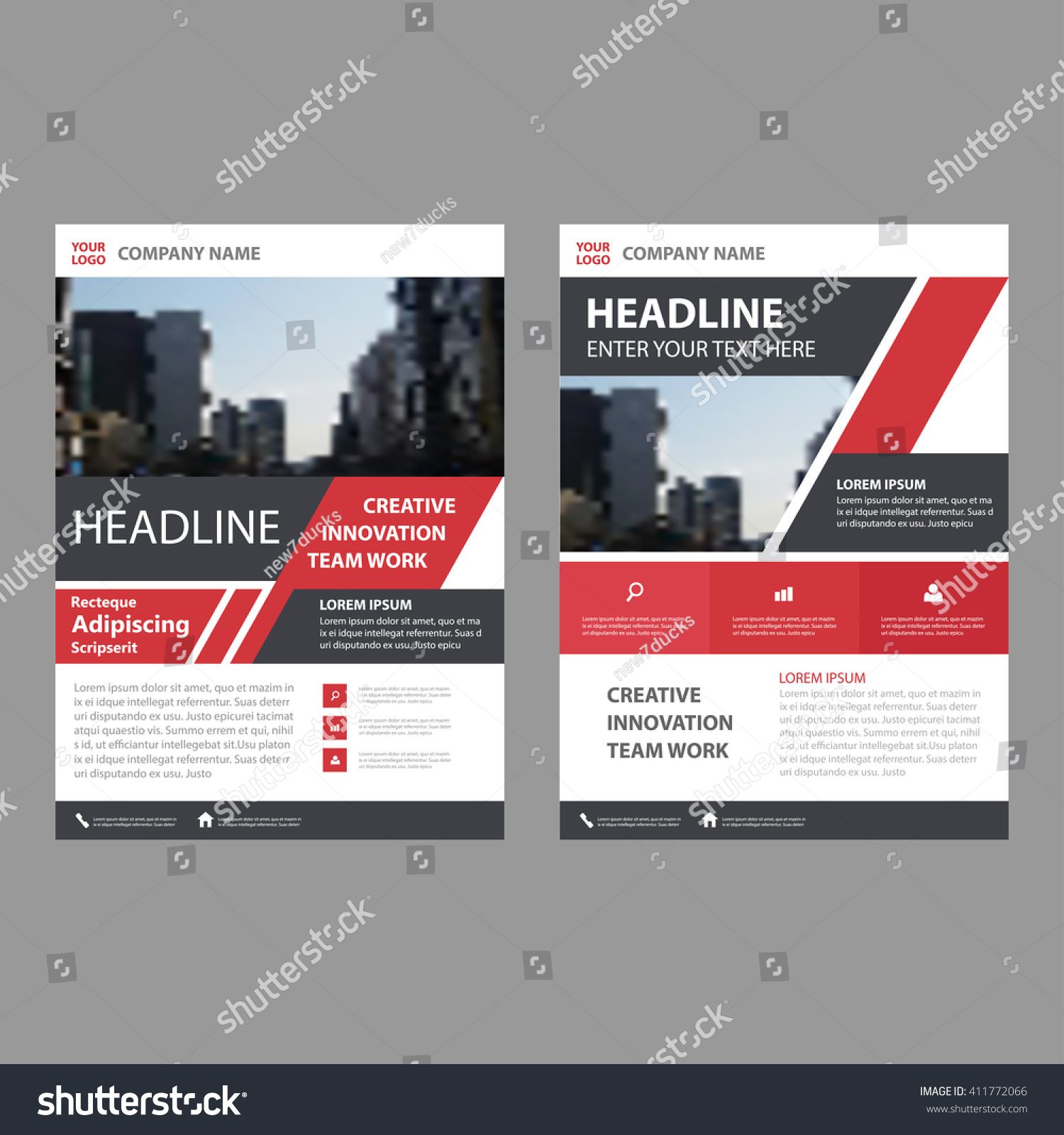 Creative Book Cover Design Templates : Royalty free creative red black brochure leaflet