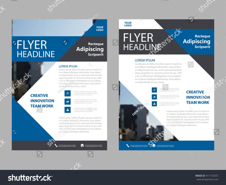 Creative Book Design Template ~ Creative blue brochure leaflet flyer business stock vector