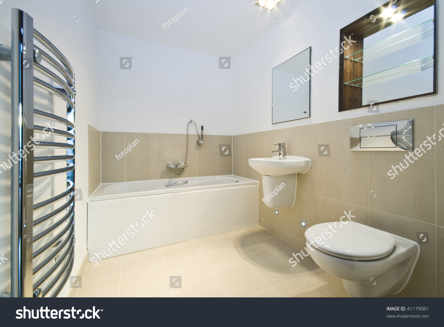 Modern Bathroom Beige Tiled Walls Stock Photo & Image (Royalty-Free ...