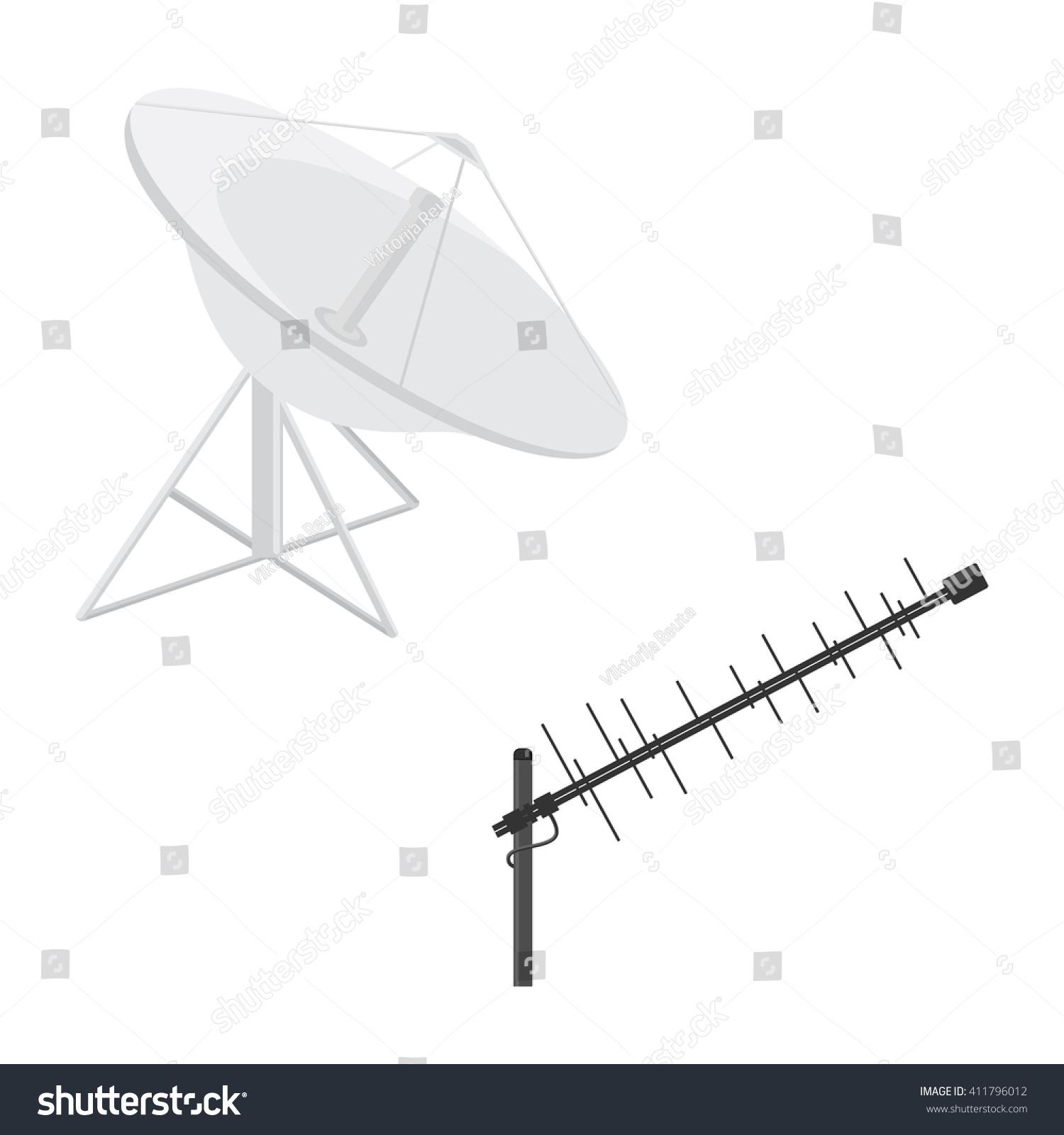 Vector Illustration Satellite Dish Antenna Television Stock Radar Tracking Aircraft Clip Wiring Circuit Diagram And Flat Icon