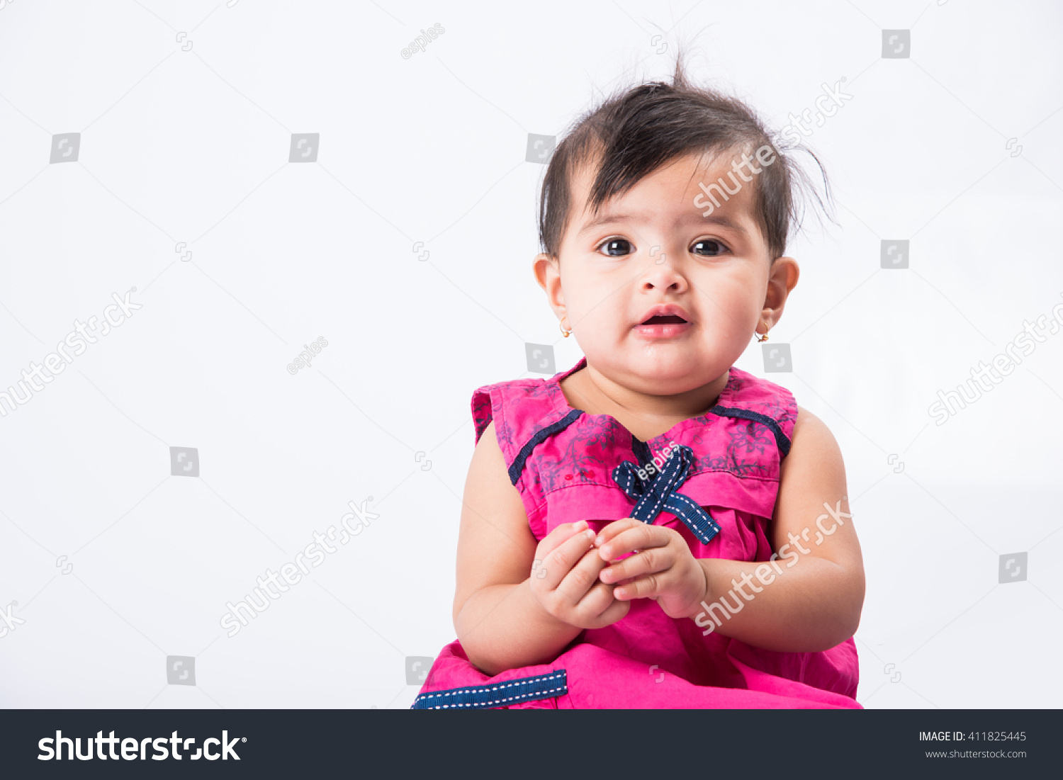 royalty-free portrait of cute indian baby girl,… #411825445 stock