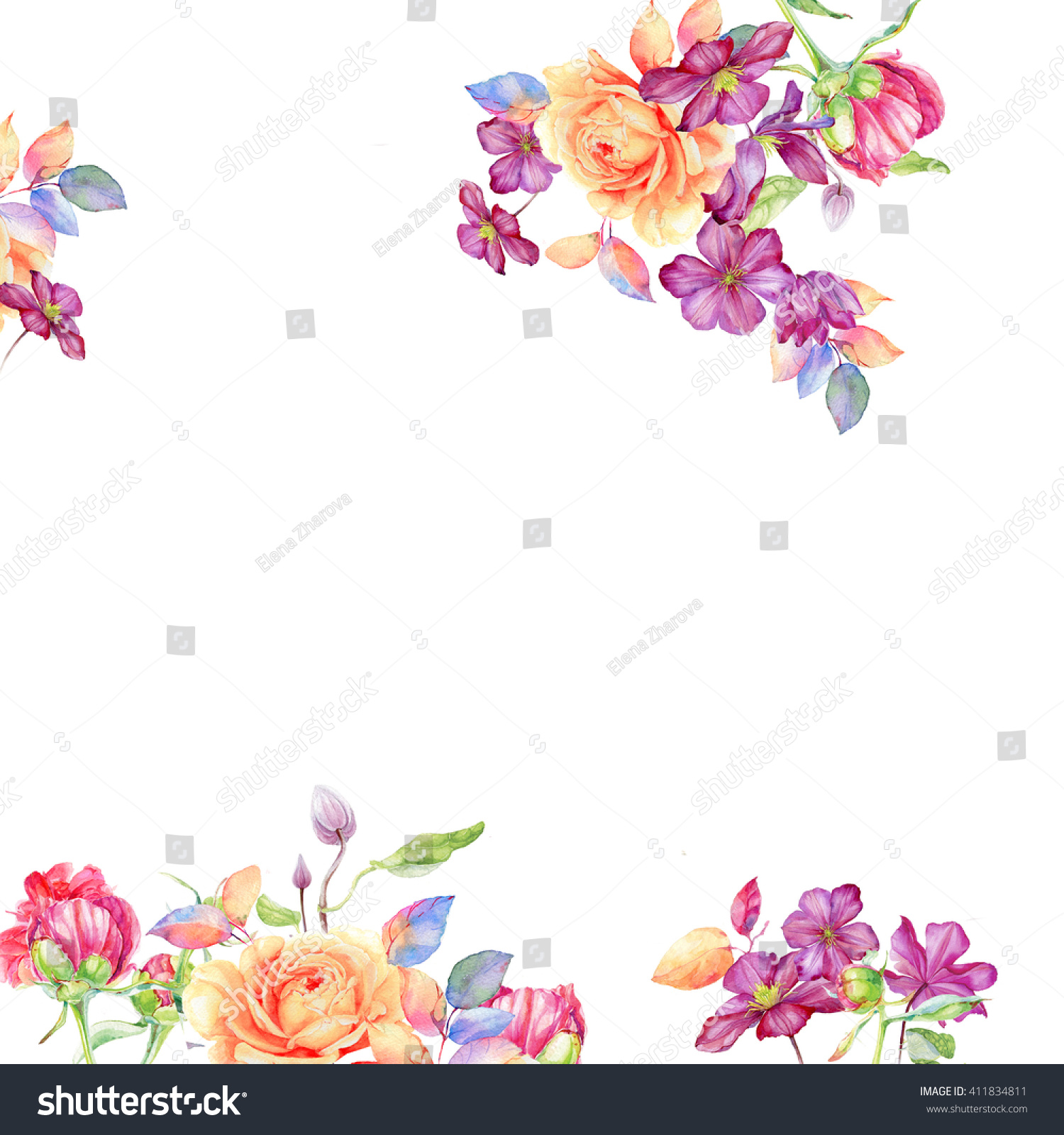 Greeting card with flowers watercolor can be used as invitation id 411834811 izmirmasajfo