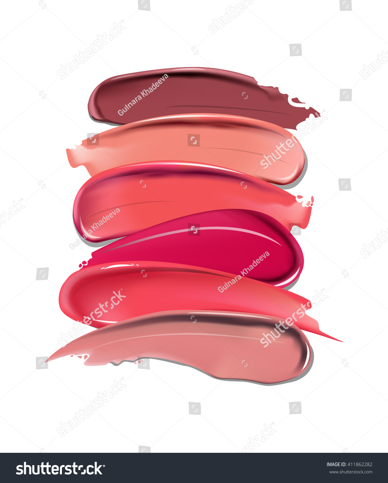 Collection Various Smears Lipstick On White Stock Vector 411862282 ...