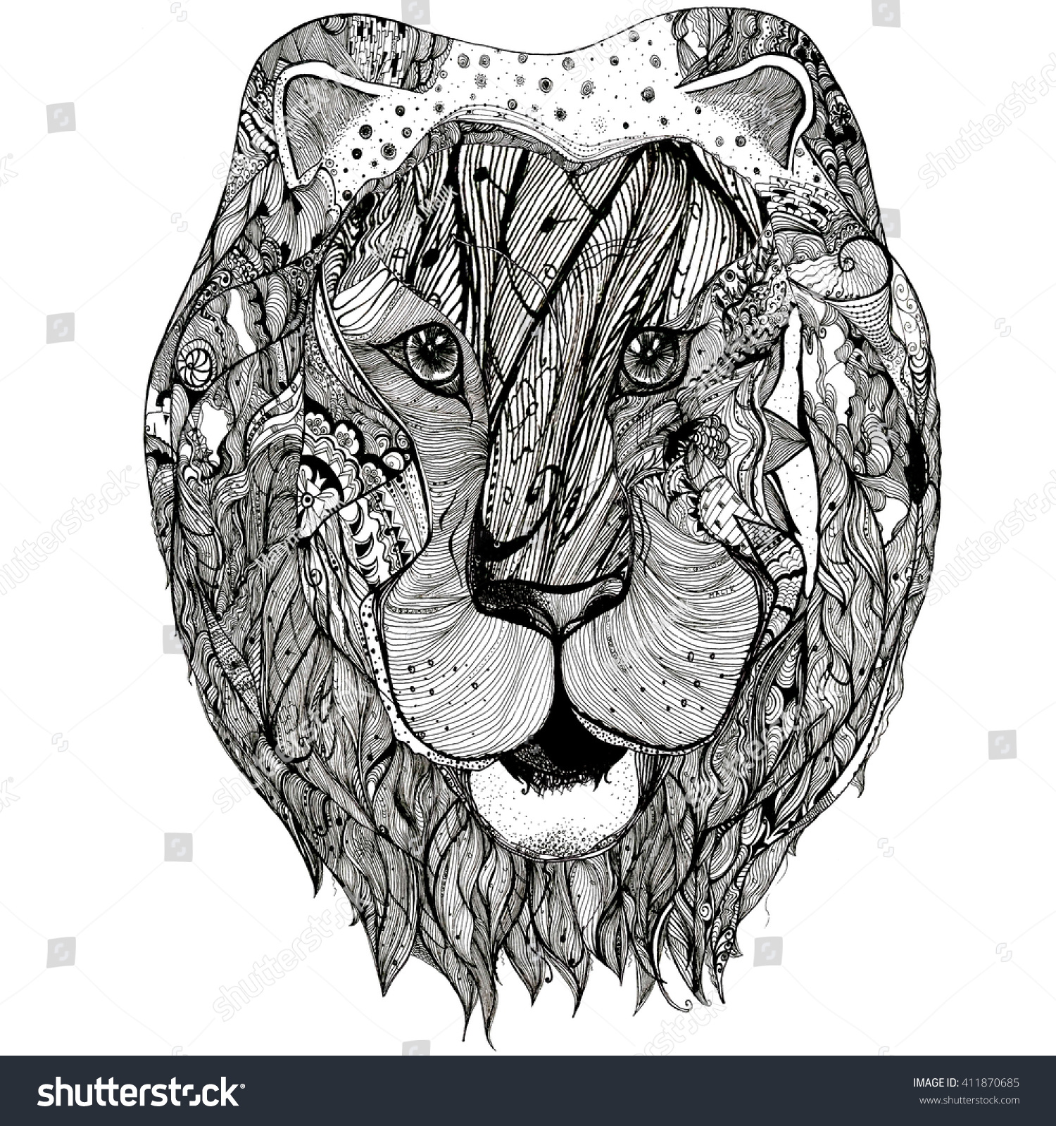Coloring book for adults lion - Lion Black White Hand Drawn Doodle Illustration Sketch For Adult Coloring Book Page
