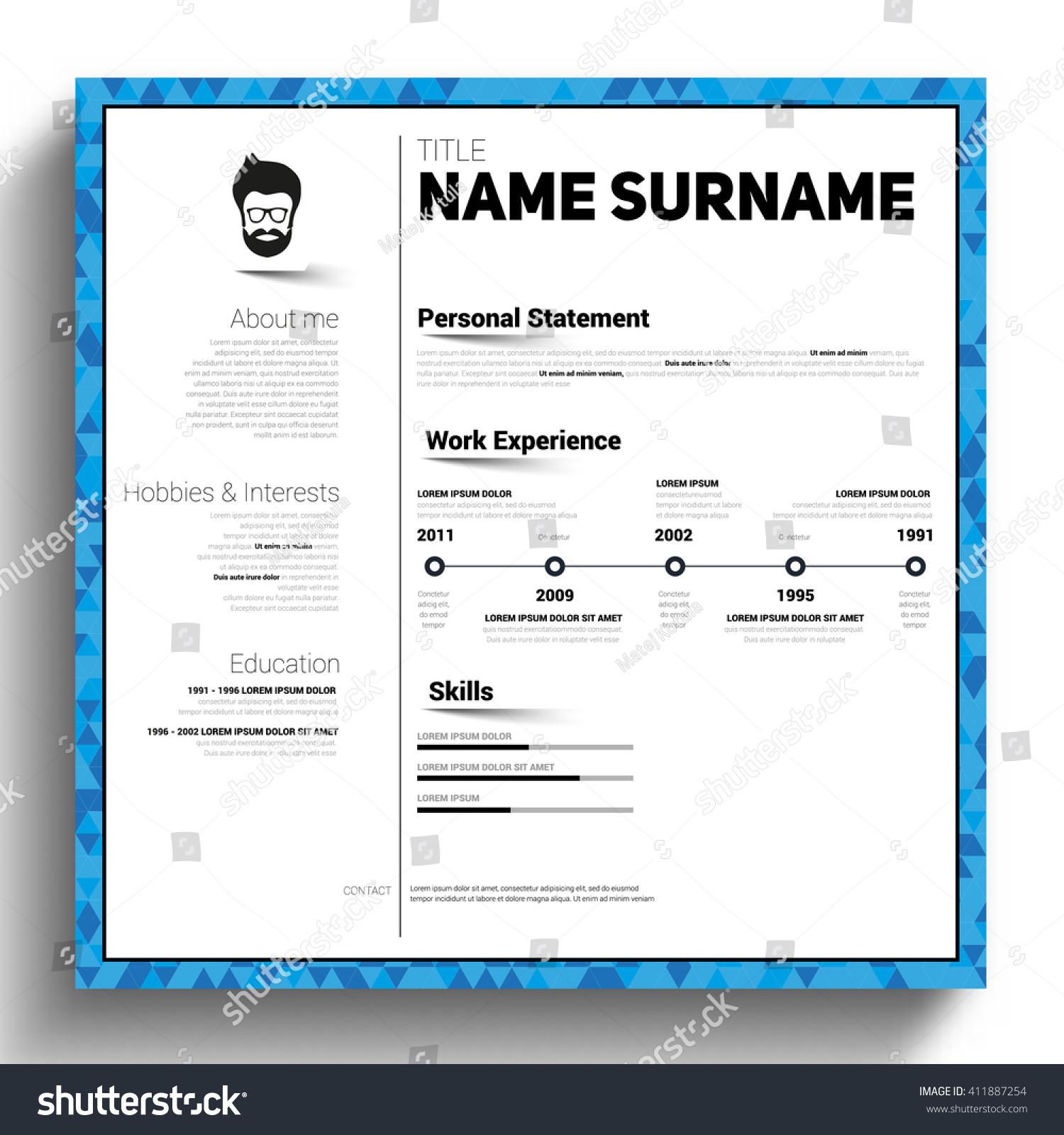 minimalist cv square style resume template stock vector 411887254