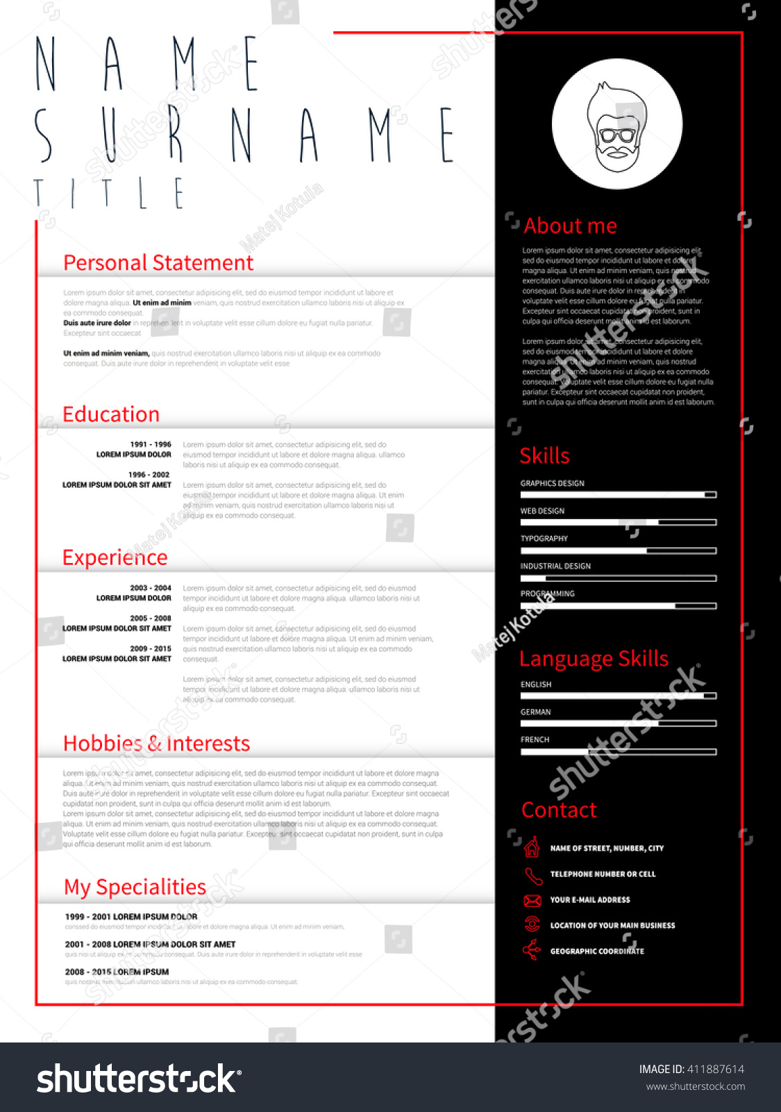Minimalist Cv Resume Template Simple Design Stock Photo Photo