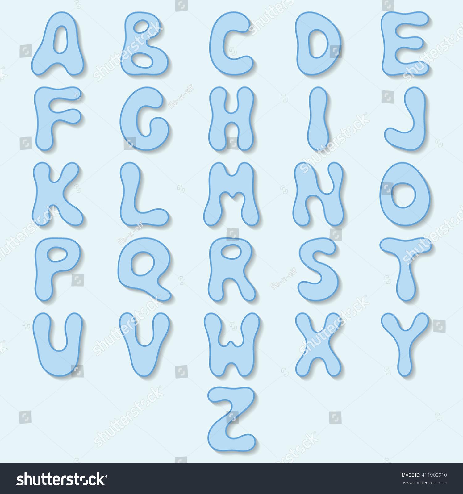 vector blue alphabet bubble letters