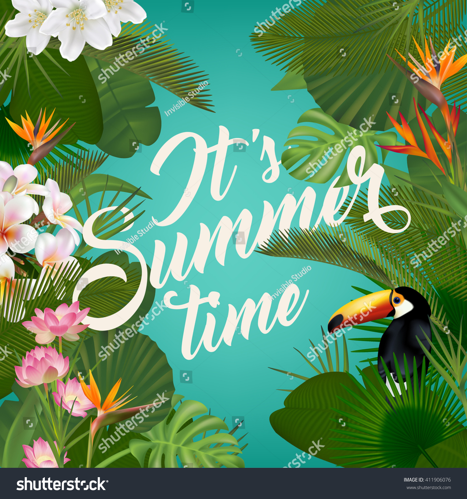 Summer party poster design vector premium download - Summer Time Wallpaper Tropical Plants Fun Stock Vector