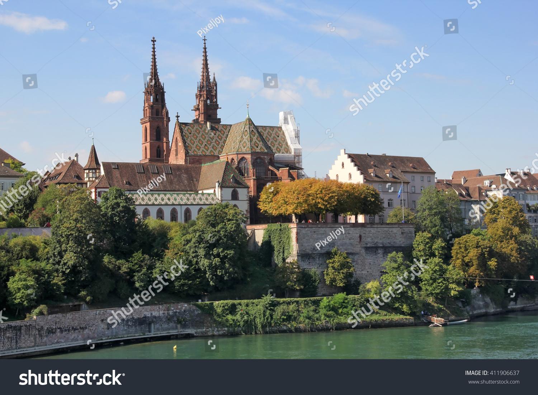Swiss City Basel Over Rhine River Stock Photo Shutterstock - Swiss river to the rhine