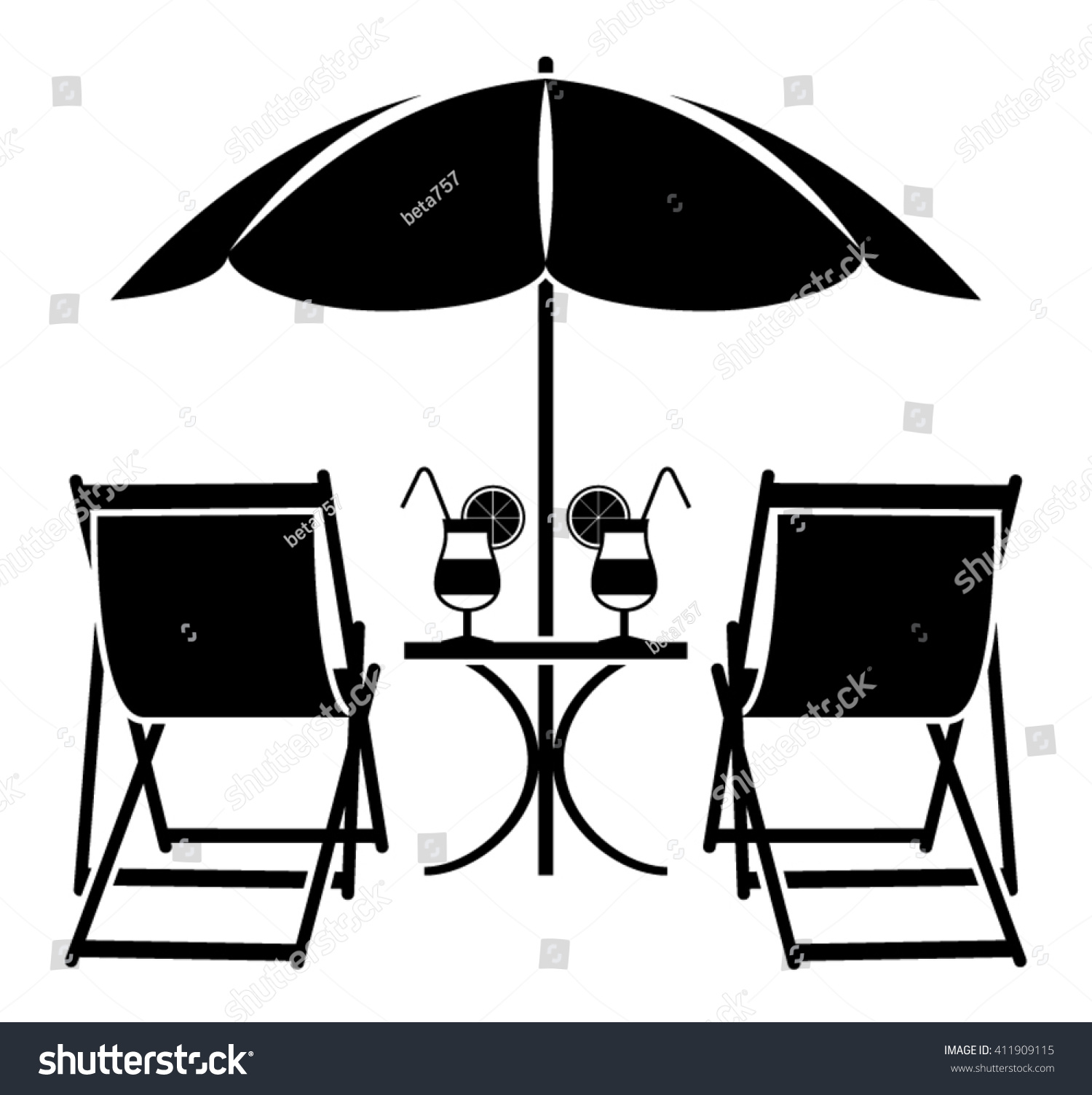 Beach chair and umbrella black and white - Vector Beach Umbrella Deck Chairs And Summer Cocktails Isolated On White Background