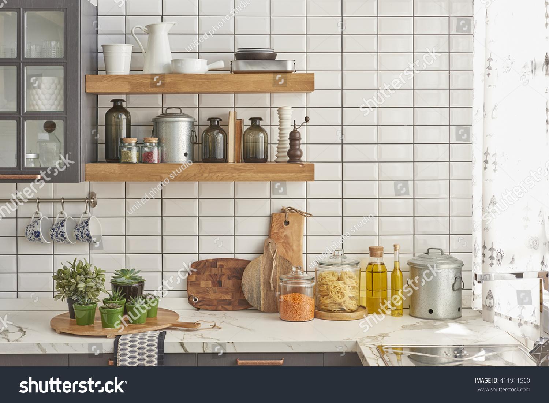 White Tiles Wall Modern Kitchen Chopping Stock Photo (Edit ...