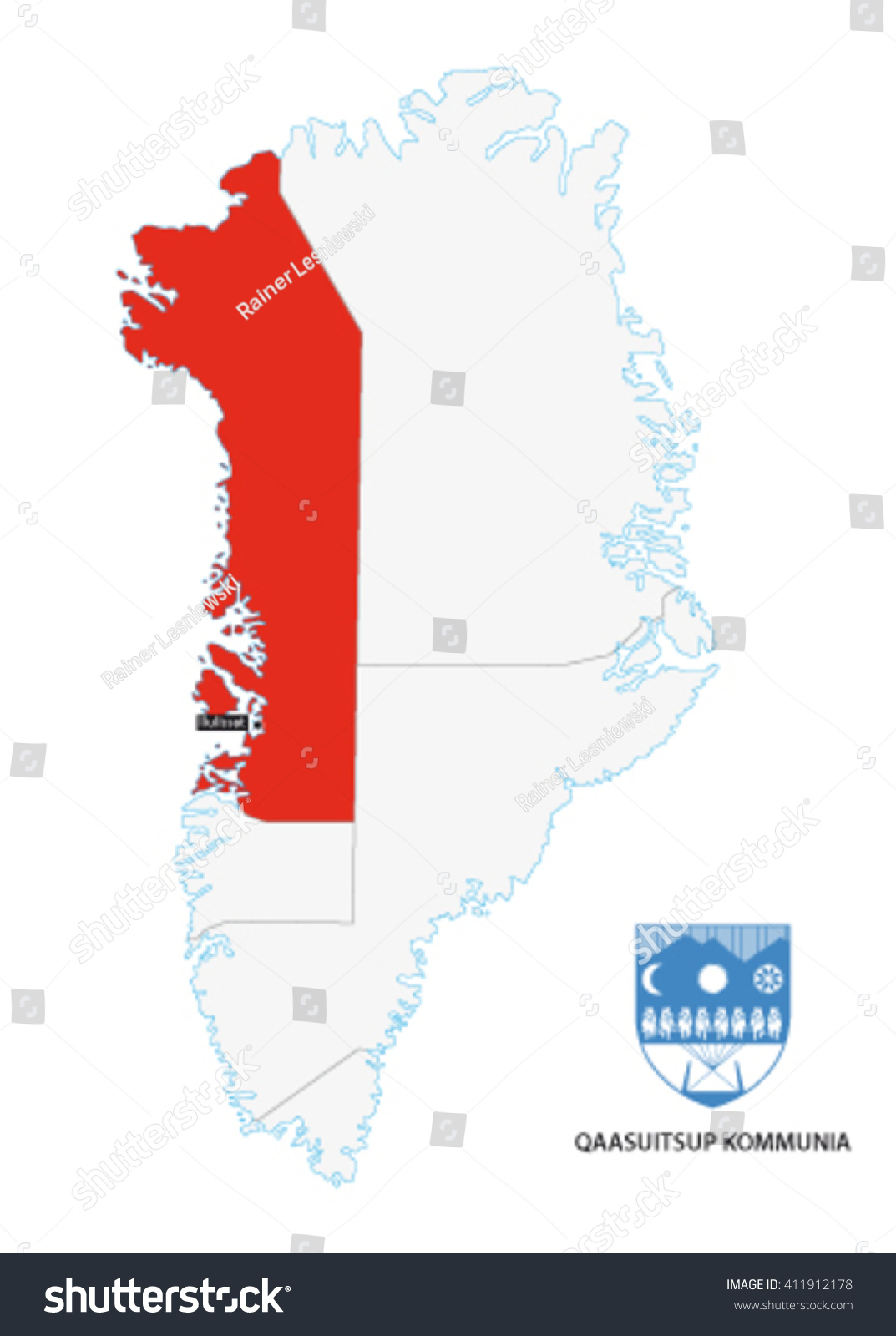 Administrative Map Greenland Qaasuitsup Municipality Coat Stock