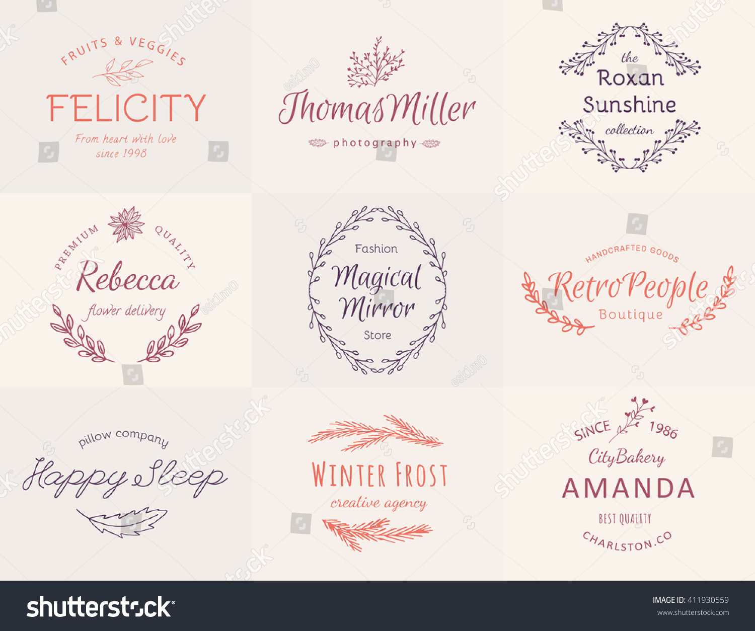 Royalty-free Hand-Drawn wreath logo set and template… #411930559 ...