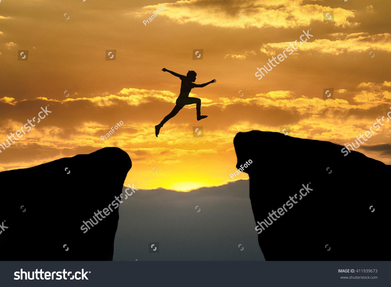 Man jump through gap between hill stock illustration for Jump the gap