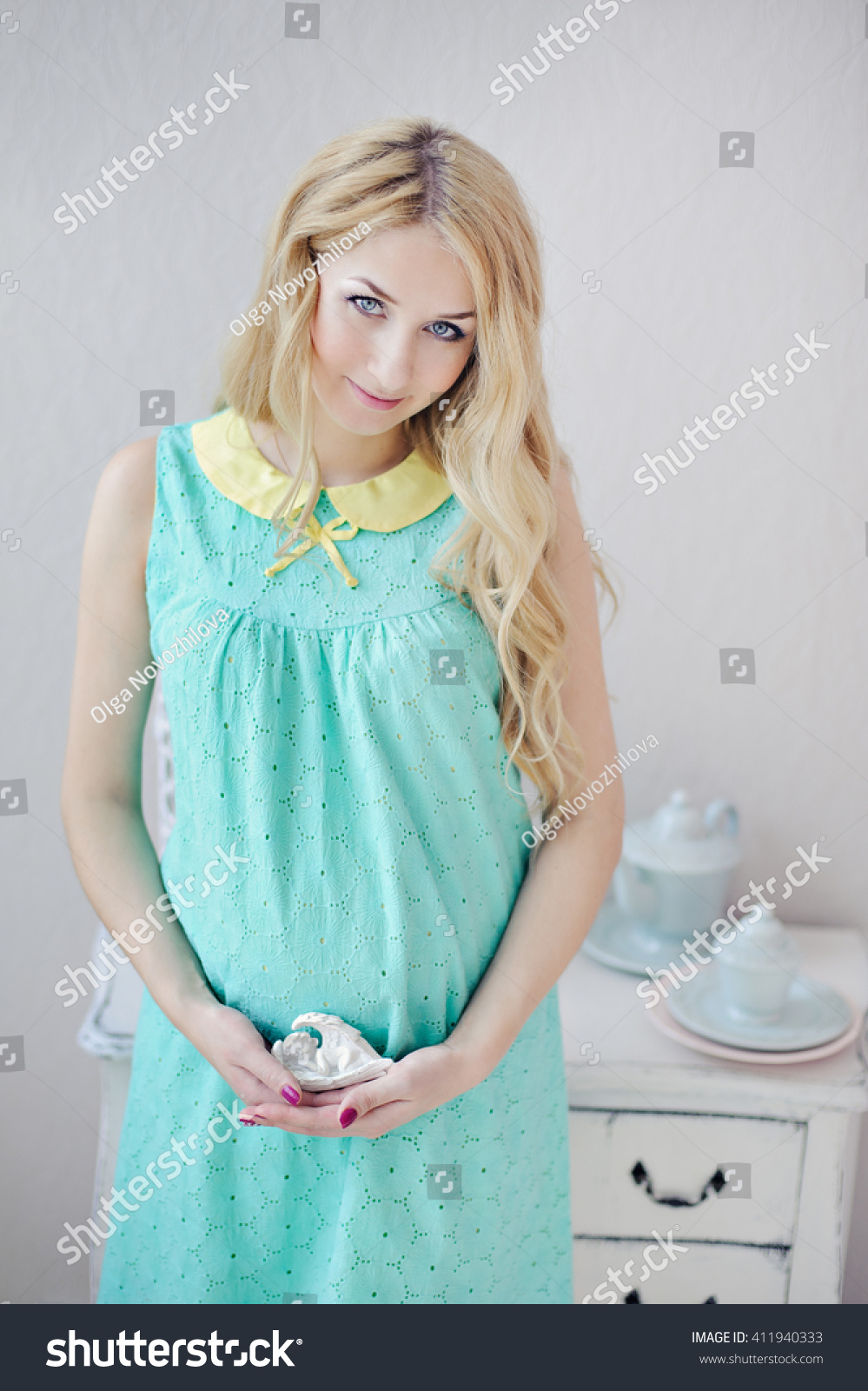 Pregnant Woman Blond Hair Mint Color Stock Photo Edit Now